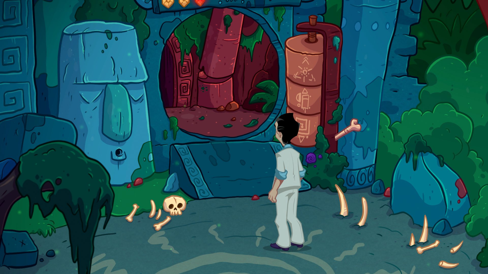 A screenshot of Larry approaching a cave entrance, littered with bones.