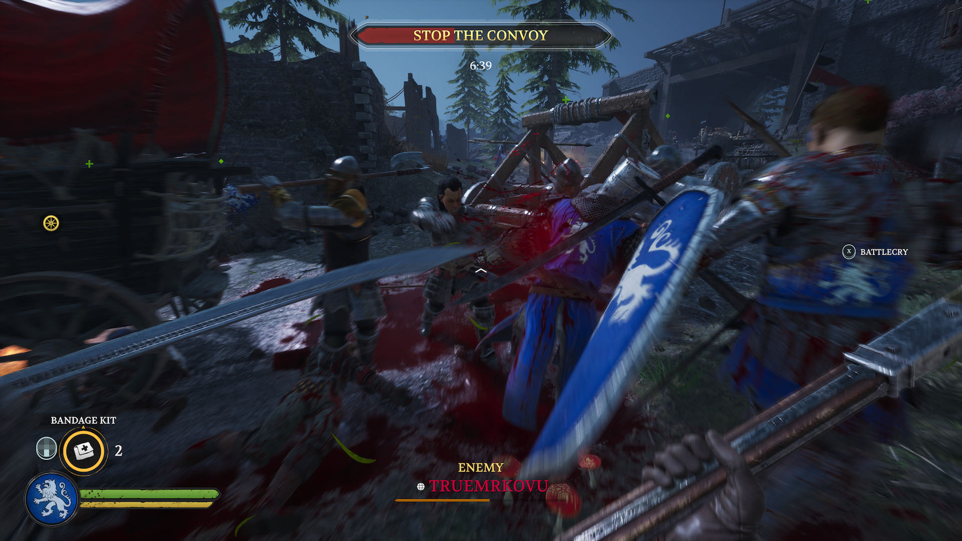 An action shot from Chivalry 2, you're in the midst of a melee.