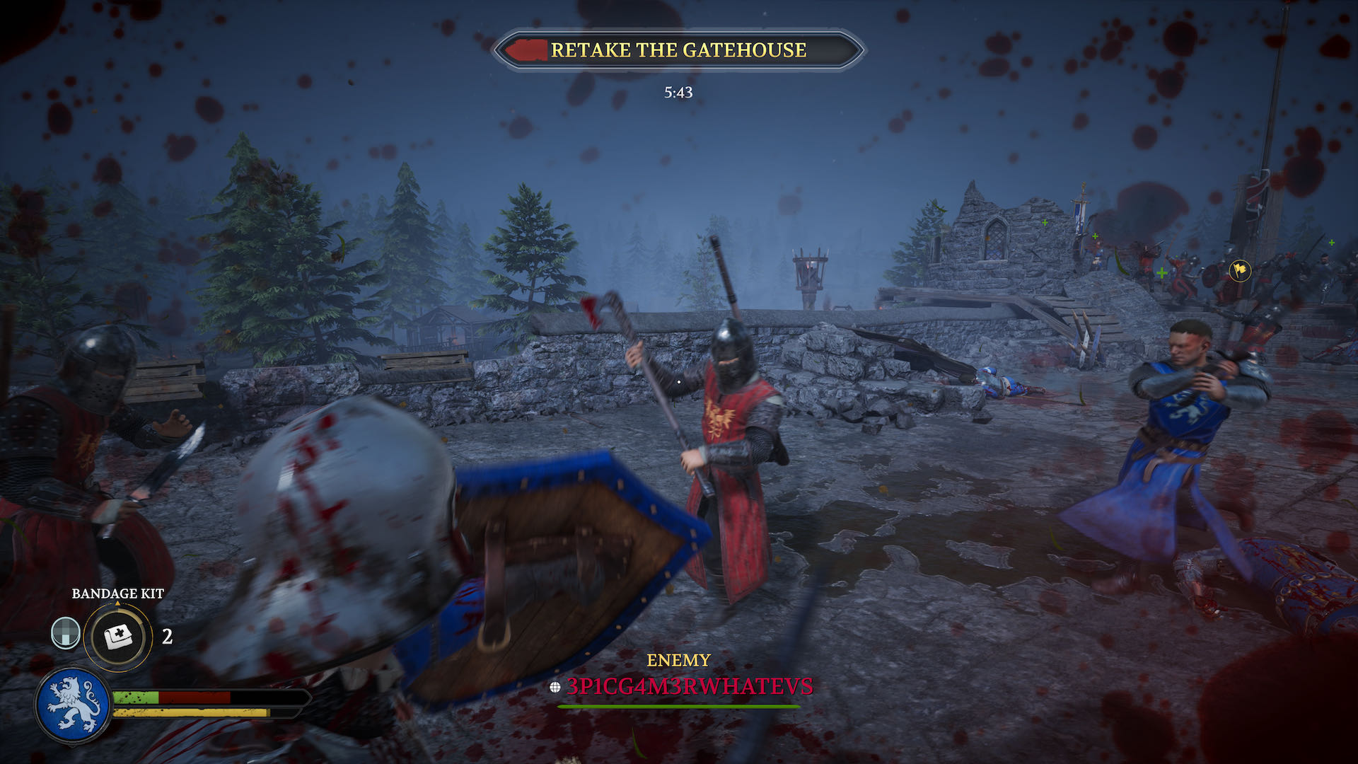 A action shot from Chivalry 2, in battle and attempting to retake a gatehouse.