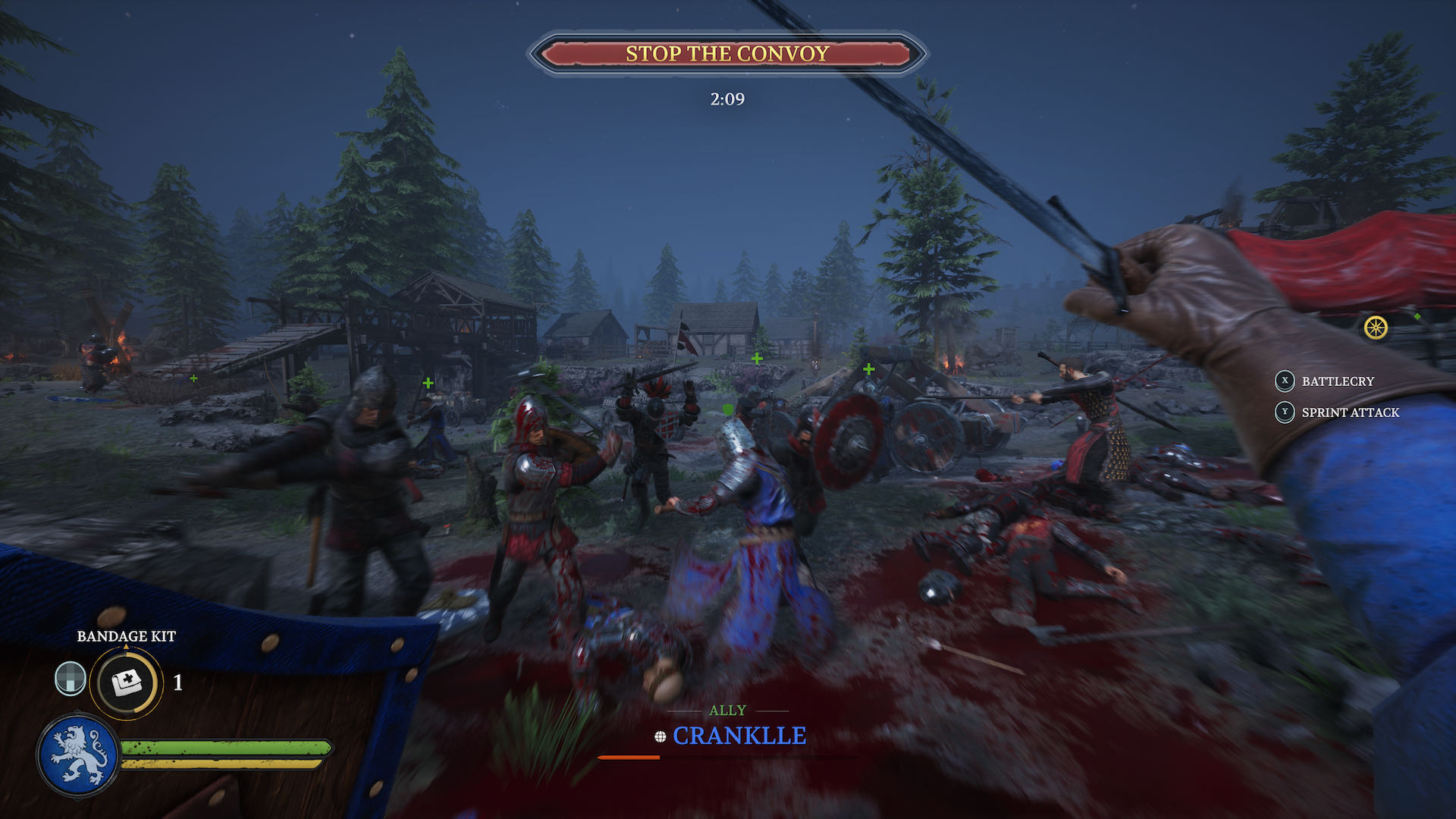 A battle shot from Chivalry 2, you're an archer attempting to stop a convoy.