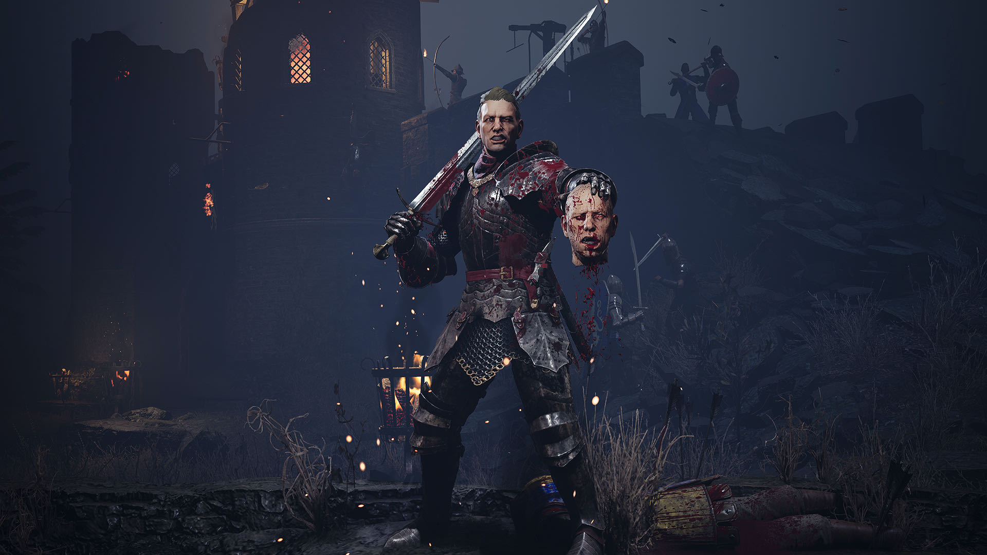 A cinematic shot from Chivalry 2, a triumphant knight holding aloft the severed head of his vanquished foe.