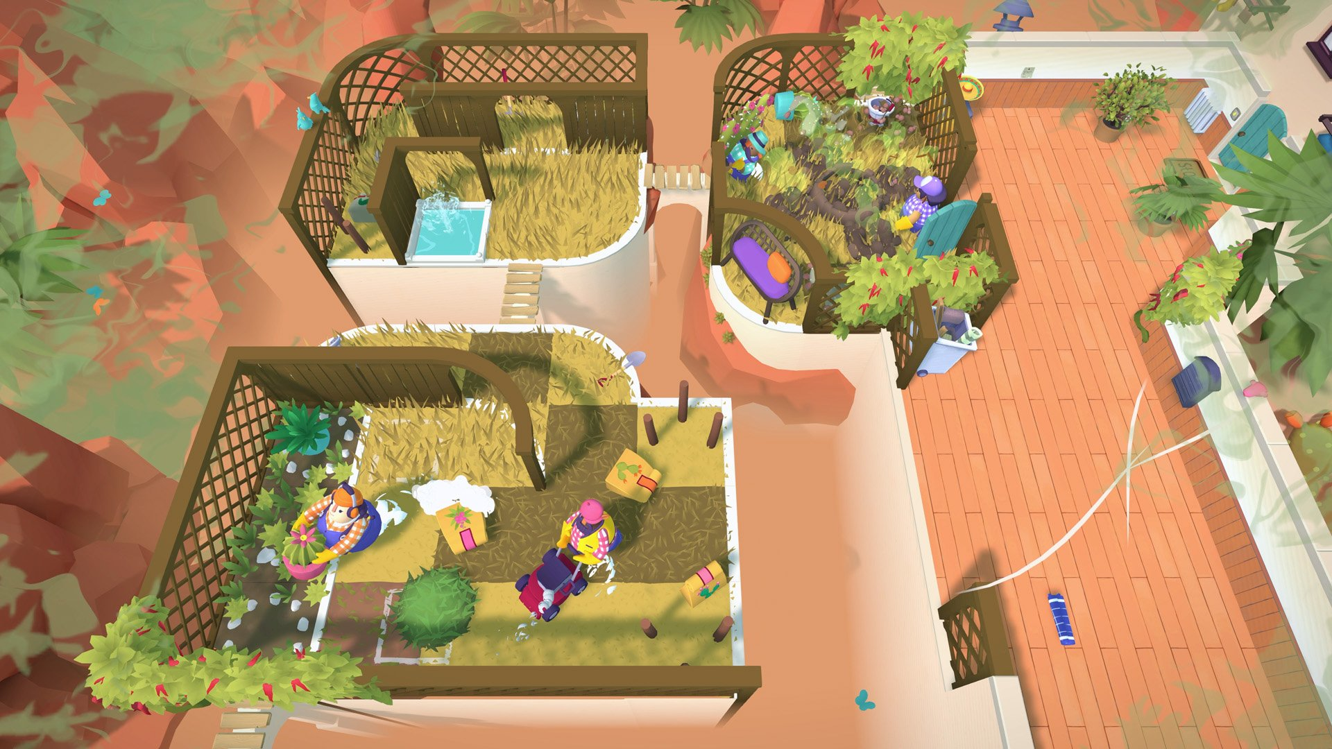 A screenshot from the Tools Up! DLC, showing two players tending a garden to varying degrees of success.