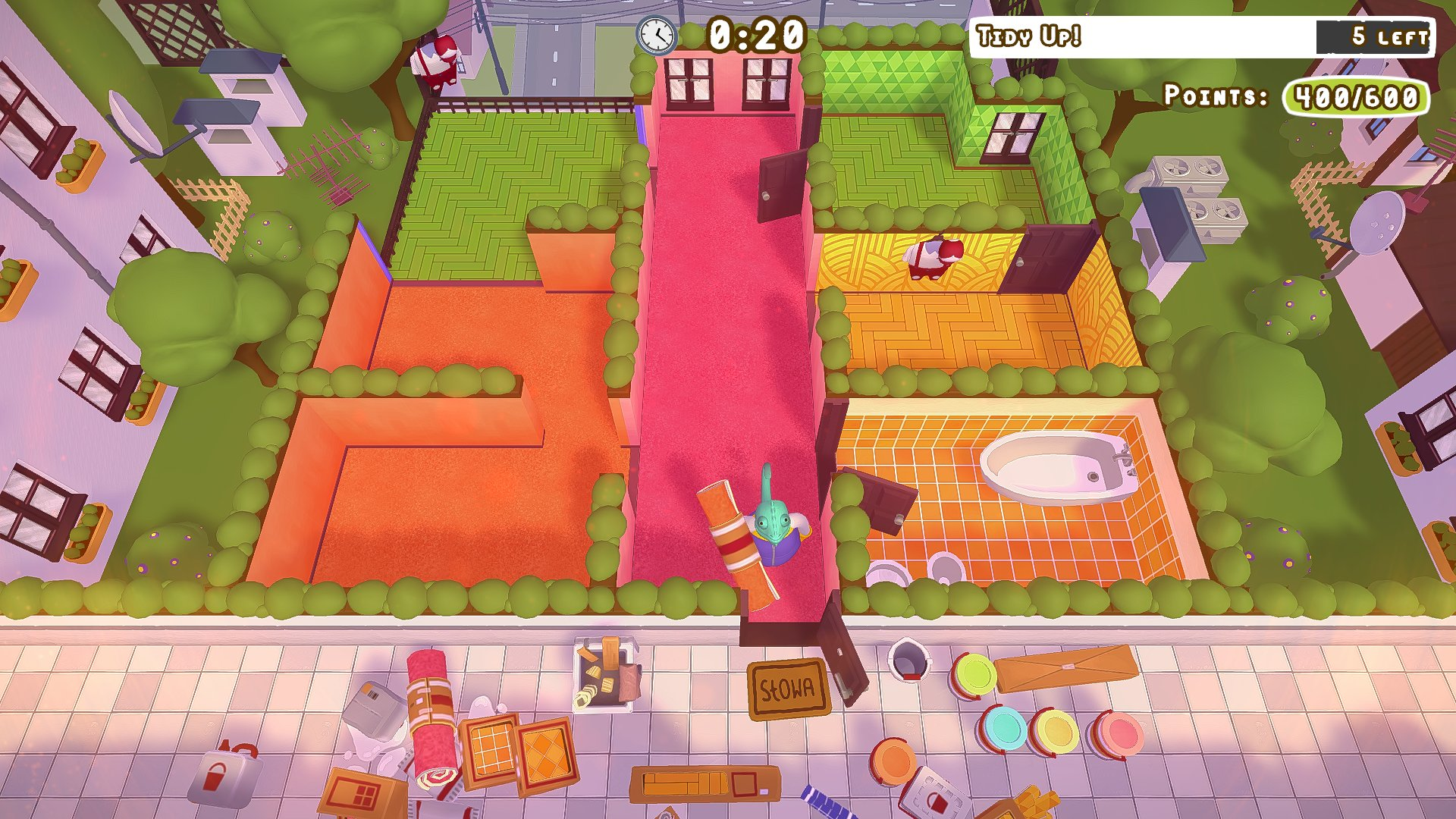 A screenshot from Tools Up! with a player carrying carpet down a garish, pink hallway.
