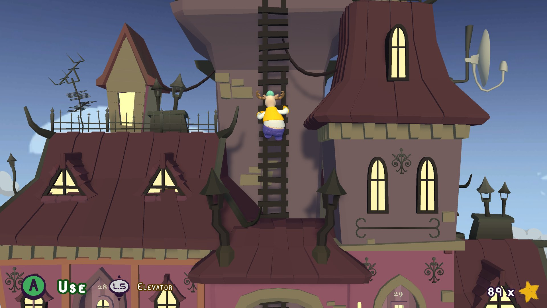 A screenshot from Tools Up! with your character, wearing reindeer antlers, climbing the side of a spooky mansion.