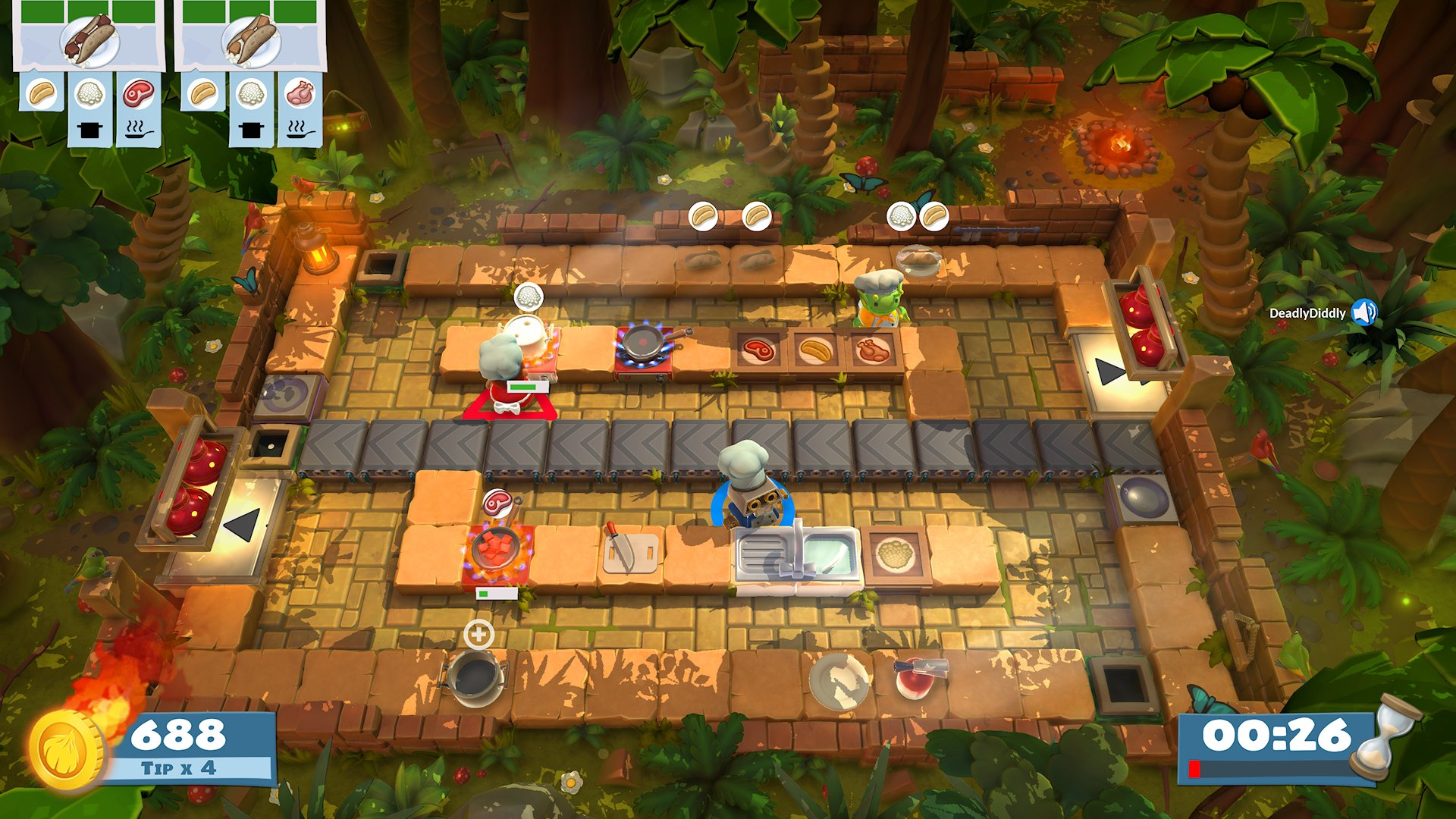 A jungle kitchen from Overcooked! with a conveyor belt running through the middle, and carnage ensuing on either side.