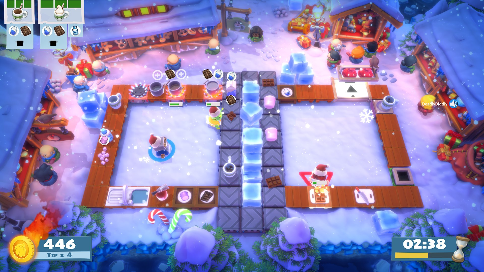 An icy kitchen from Overcooked! with cute, Christmas market vibes and snow falling gently.