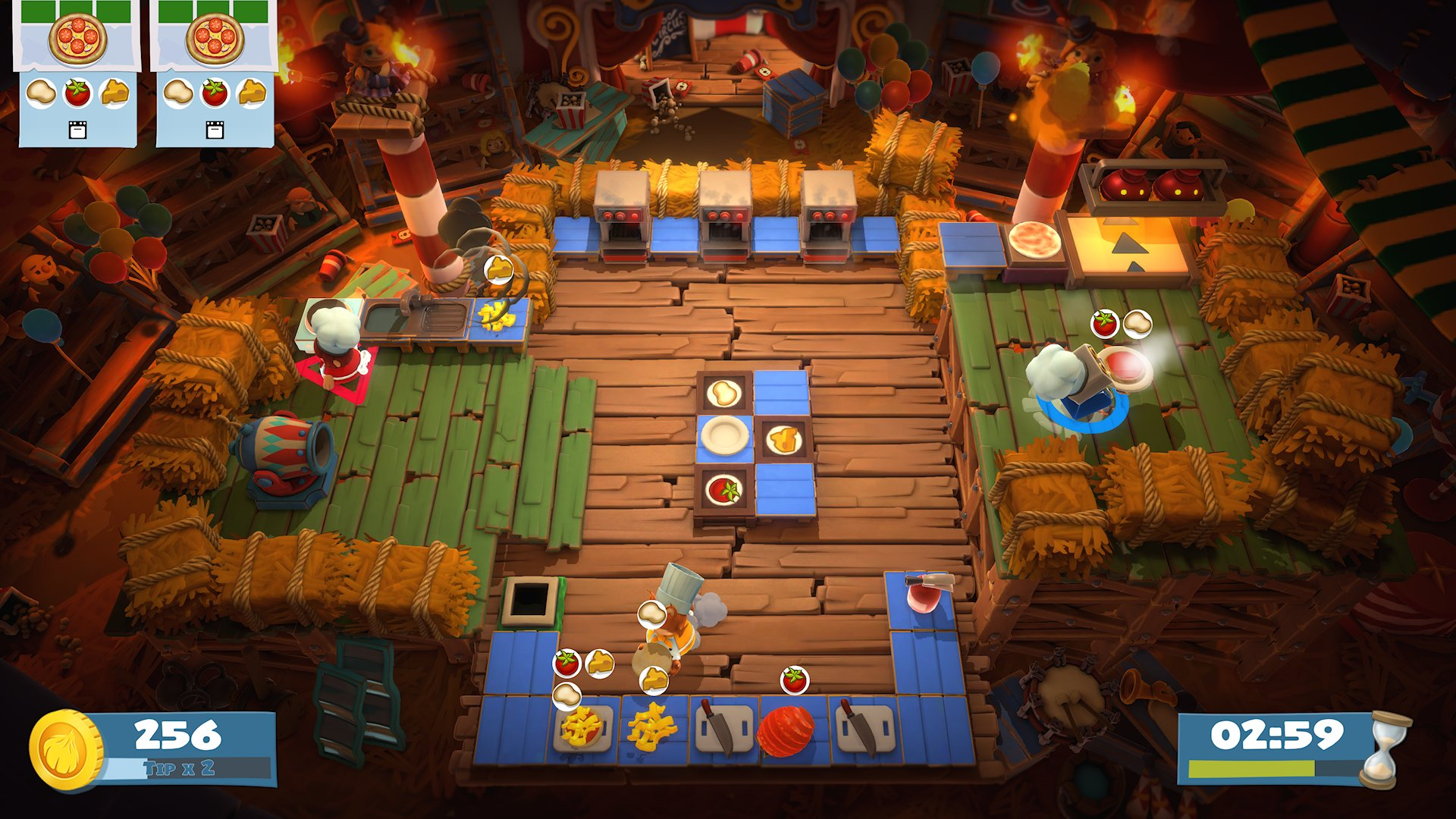 A barn kitchen from Overcooked! with hay bales piled high, and a cannon for extra speedy deliveries.