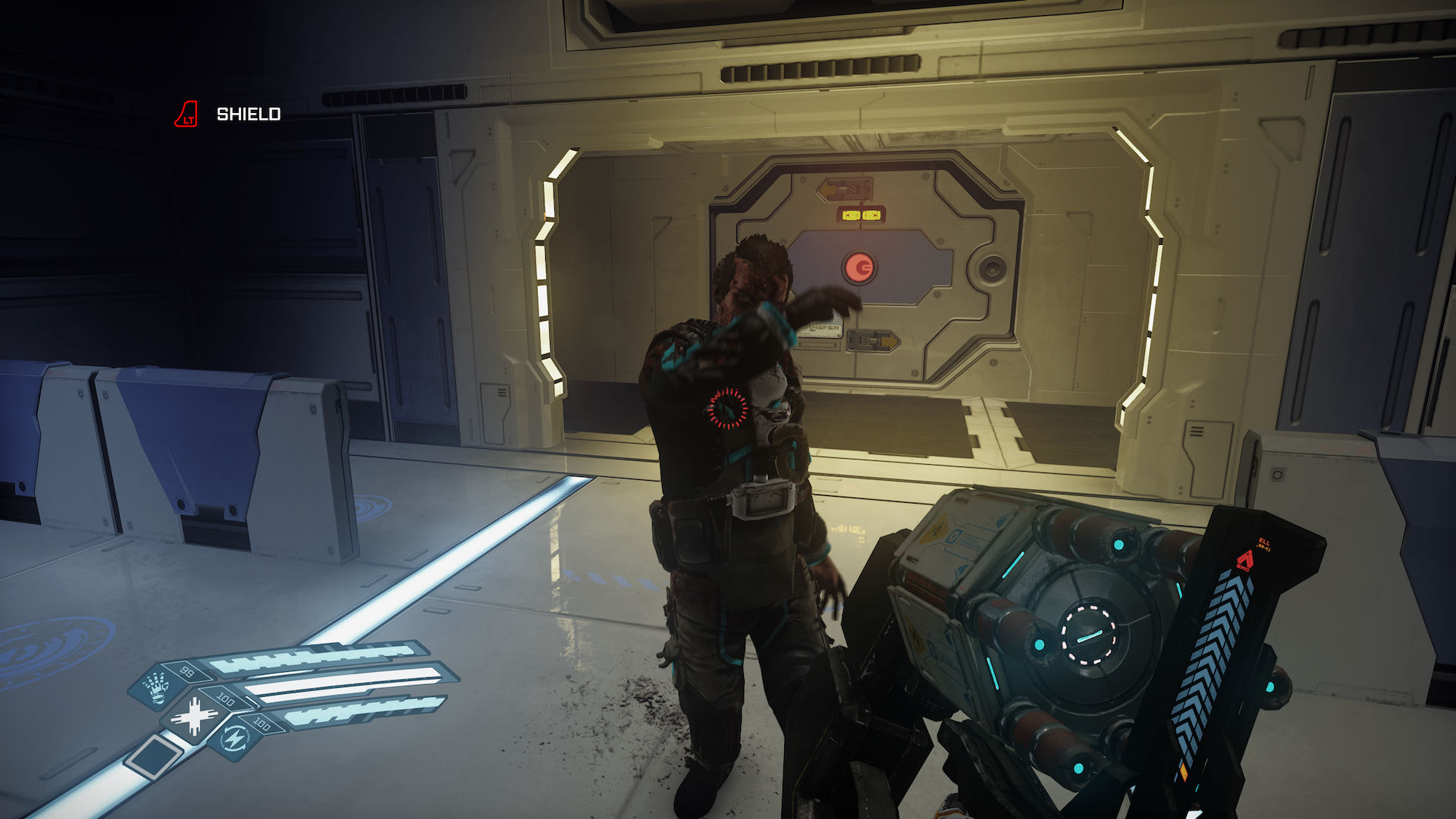 A screenshot from The Persistence, you seem to be threatening a crewmate with a large weapon, but it could all be a misunderstanding.