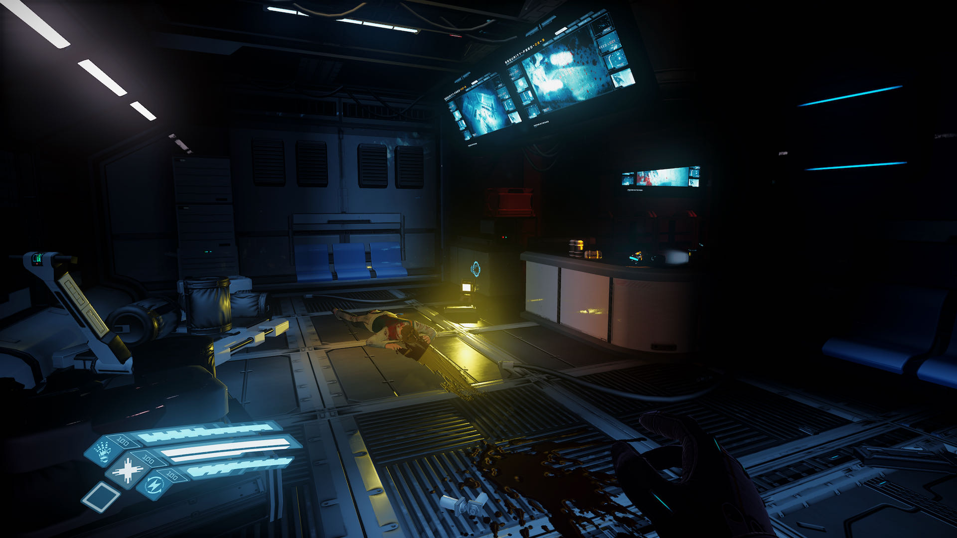 A dark, ominous screenshot from The Persistence, you're in a blood-spattered room and there's a figure lying prone in front of you.