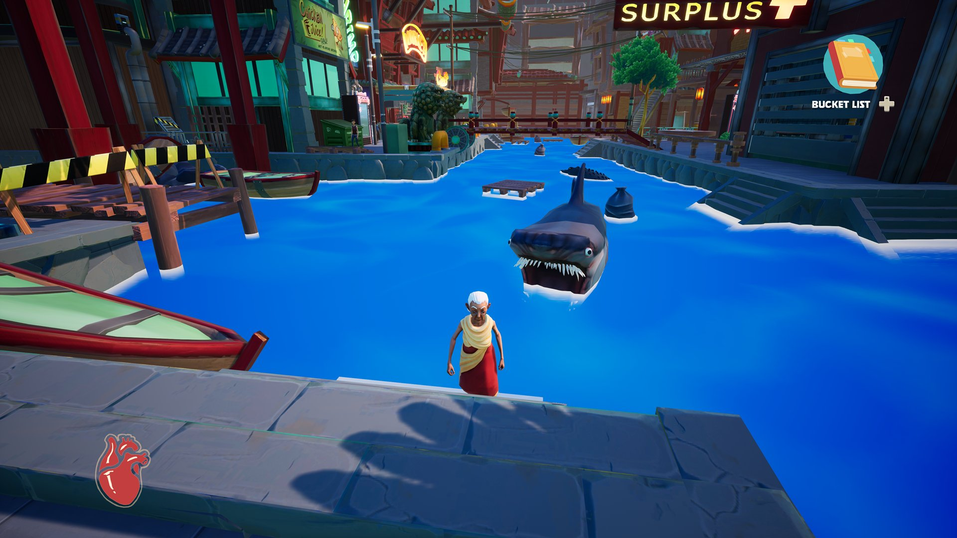 A screenshot from Just Die Already, you're being stalked by a large, slightly square-headed shark.