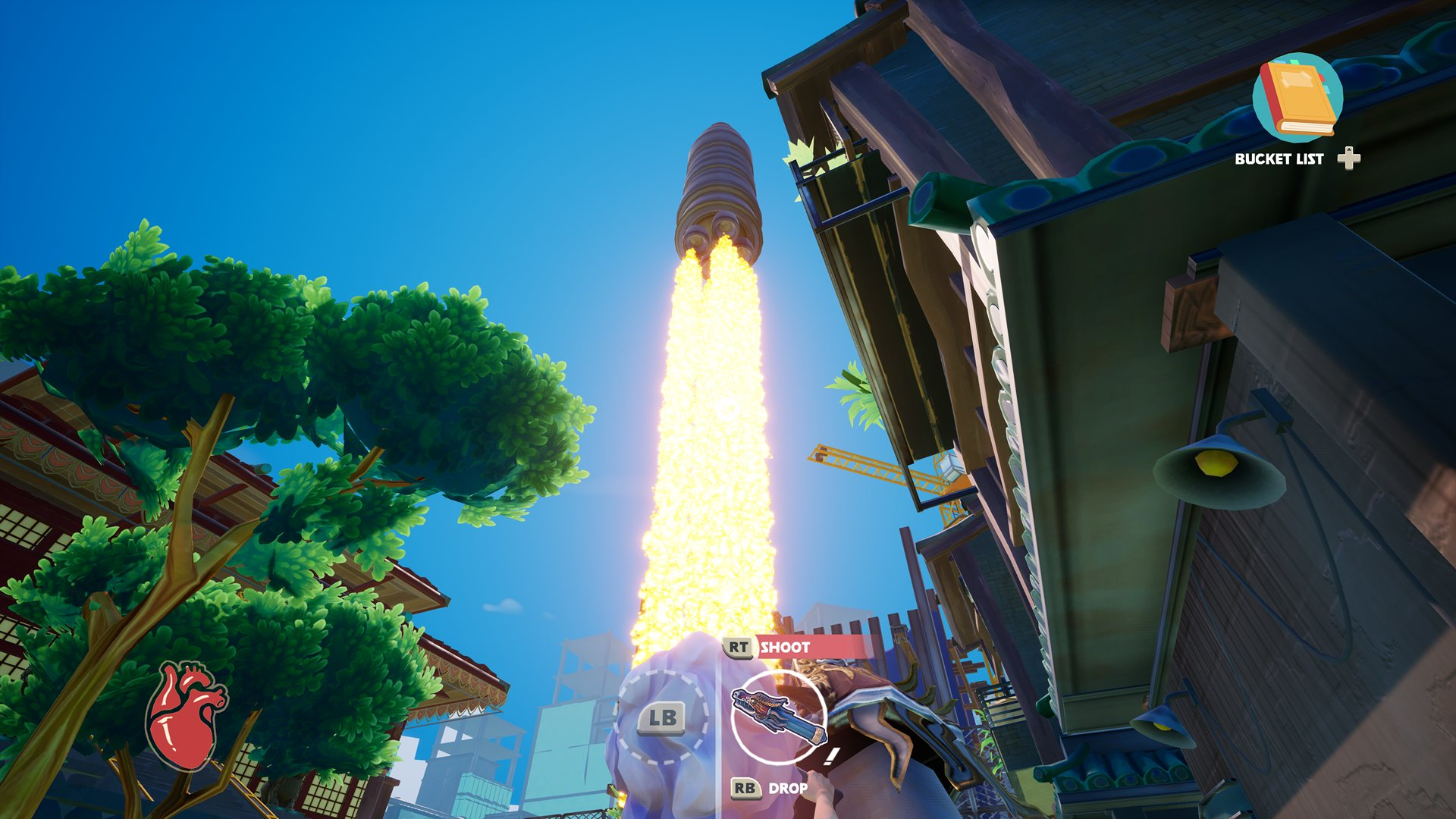 A screenshot from Just Die Already, you're watching a rocket take off.
