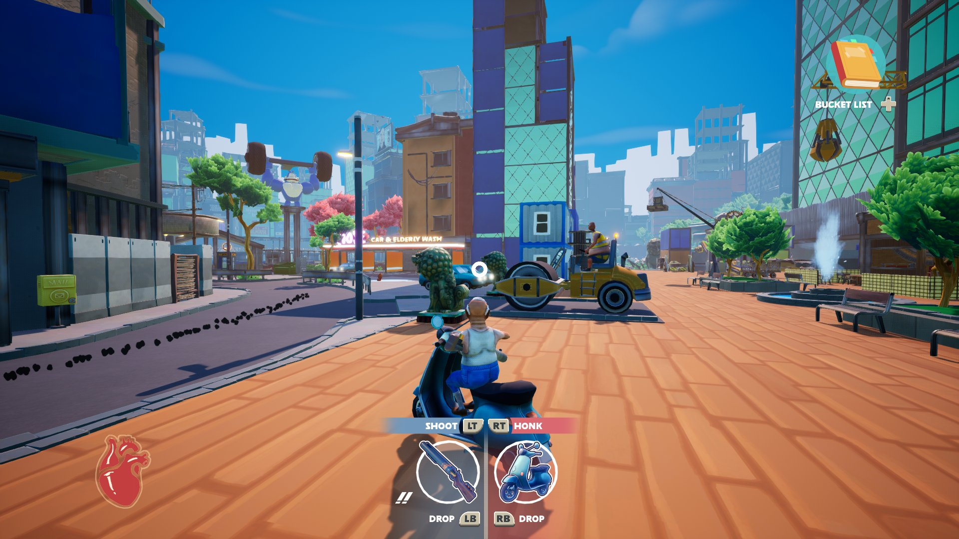 A screenshot from Just Die Already, your old man is riding a moped through a cityscape.