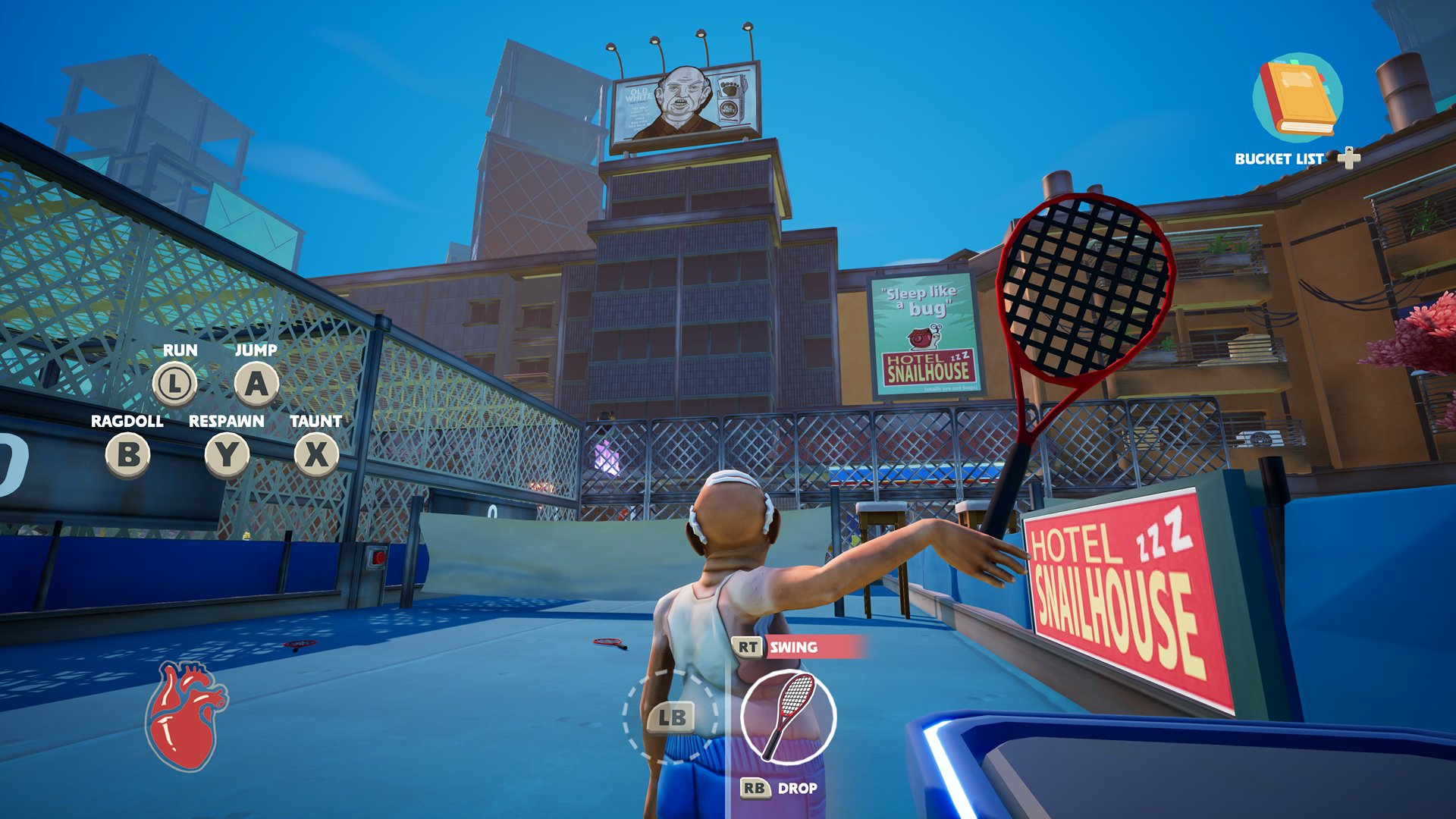 A screenshot from Just Die Already, you're holding an oversized tennis racket.