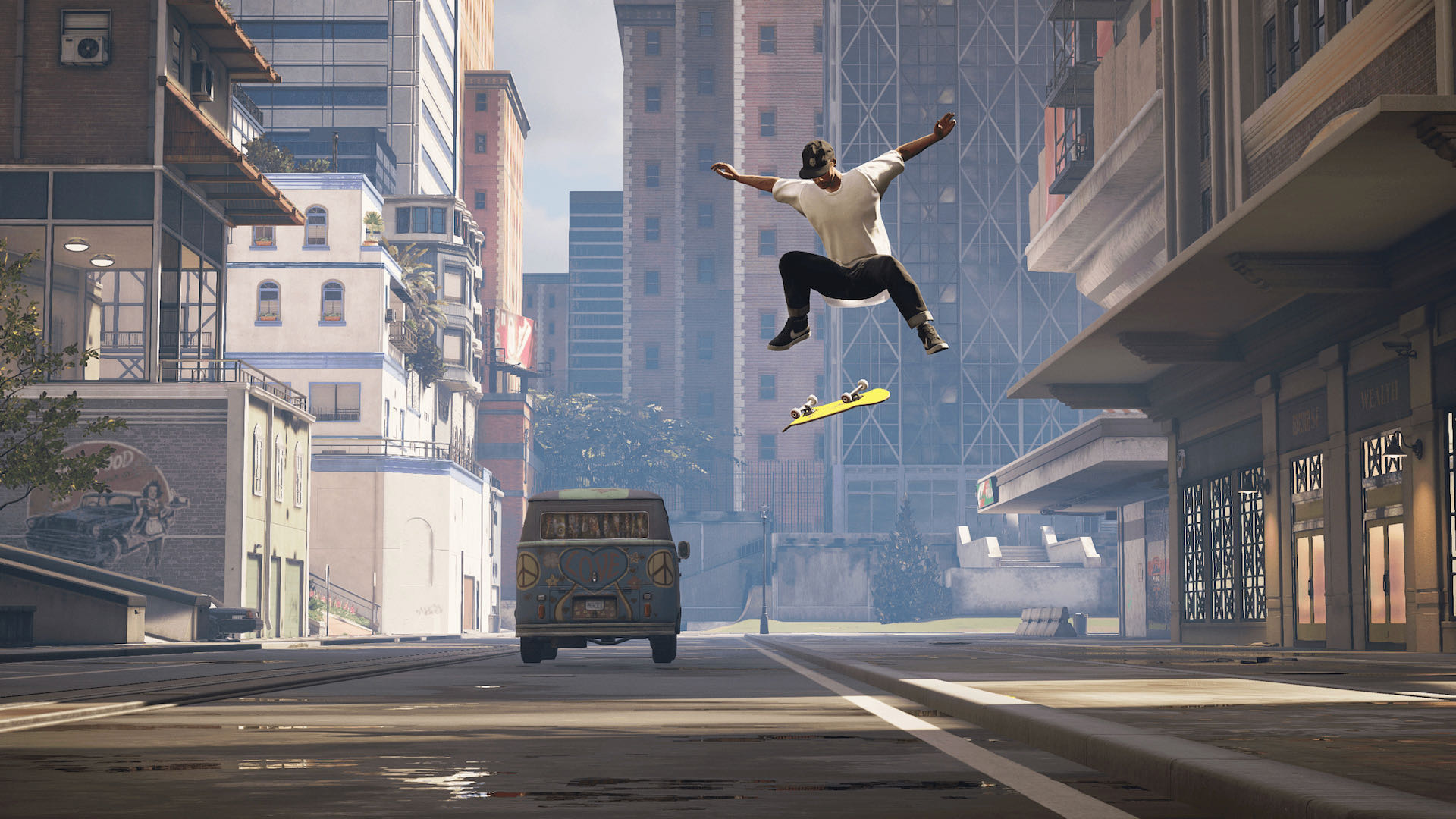 A screenshot from THPS, your skater doing a flip trick into the street.