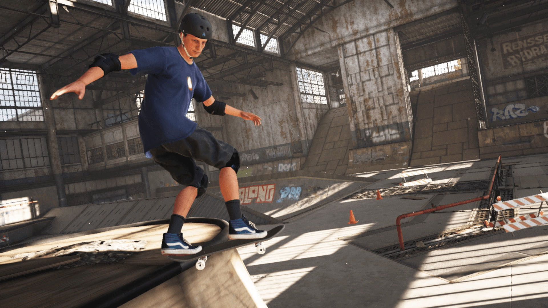 A close-up of Tony Hawk in THPS, performing a lip trick on a quarter pipe in The Warehouse.