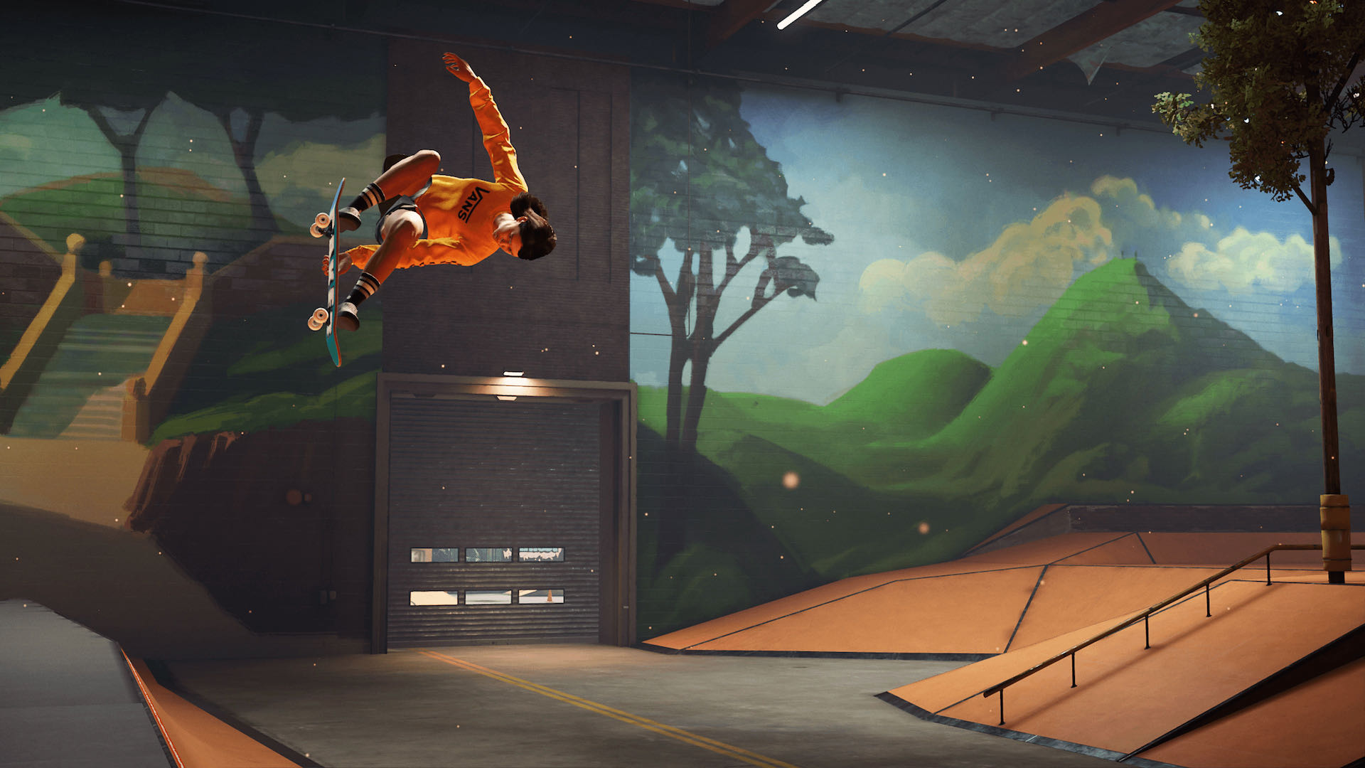 A screenshot from THPS, a skater wearing orange performs a Melon grab in a skatepark.