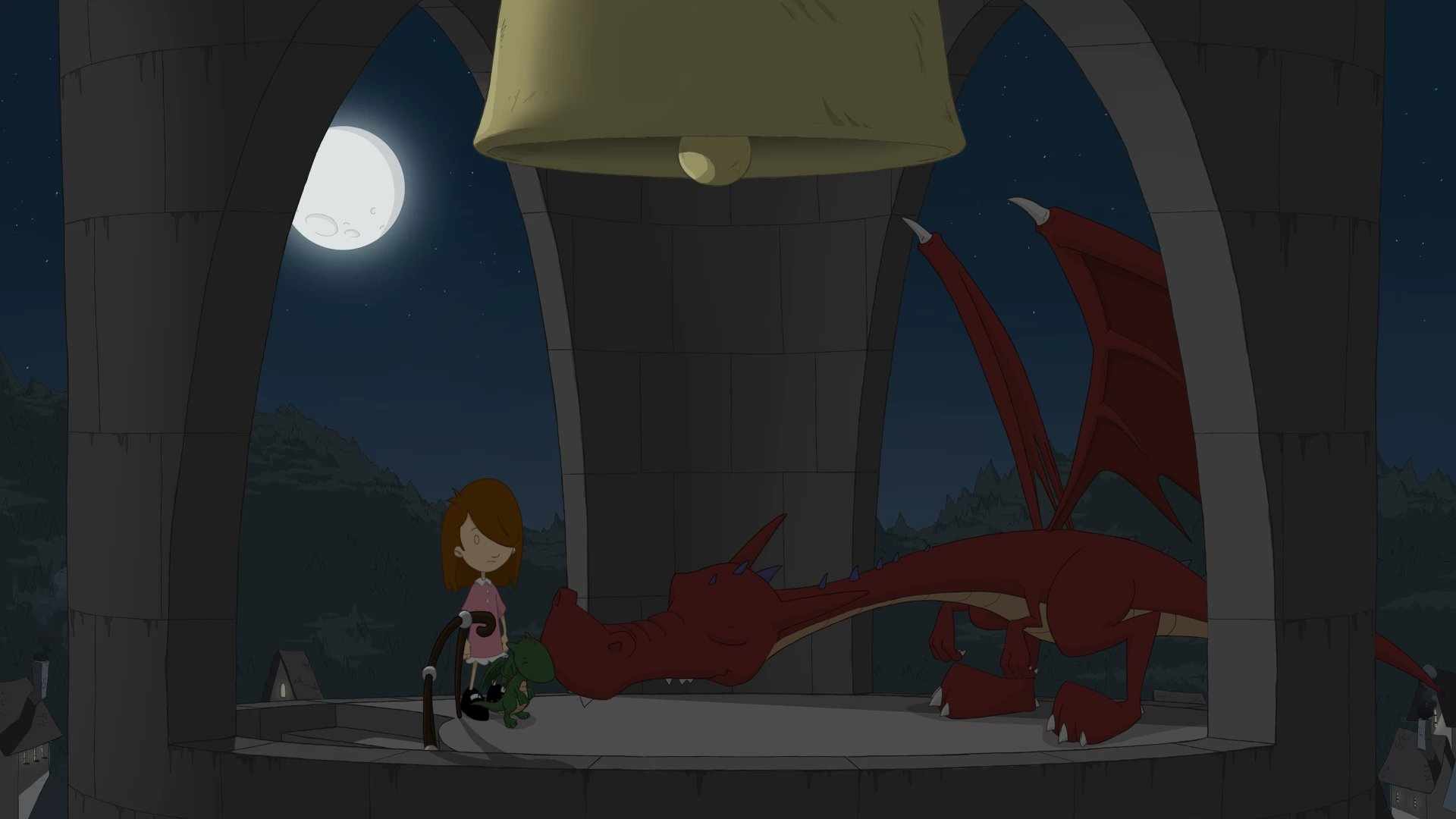 A screenshot of Anna at the top of a belltower, standing next to a large, sleeping dragon and a much smaller, cuter green dragon.