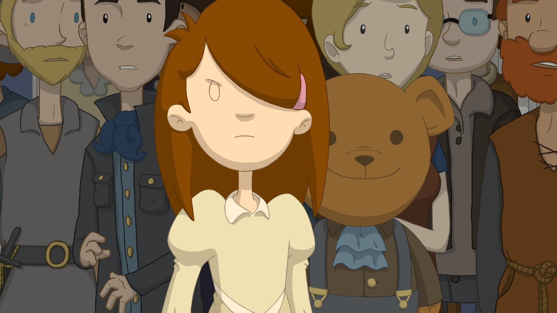 A screenshot from Anna's Quest, Anna standing in the foreground with a crowd behind, including an enormous teddy bear.