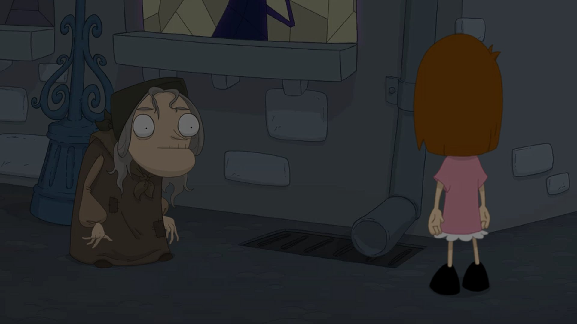 A screenshot of Anna, conversing with a raggedy old lady in a darkened alley.