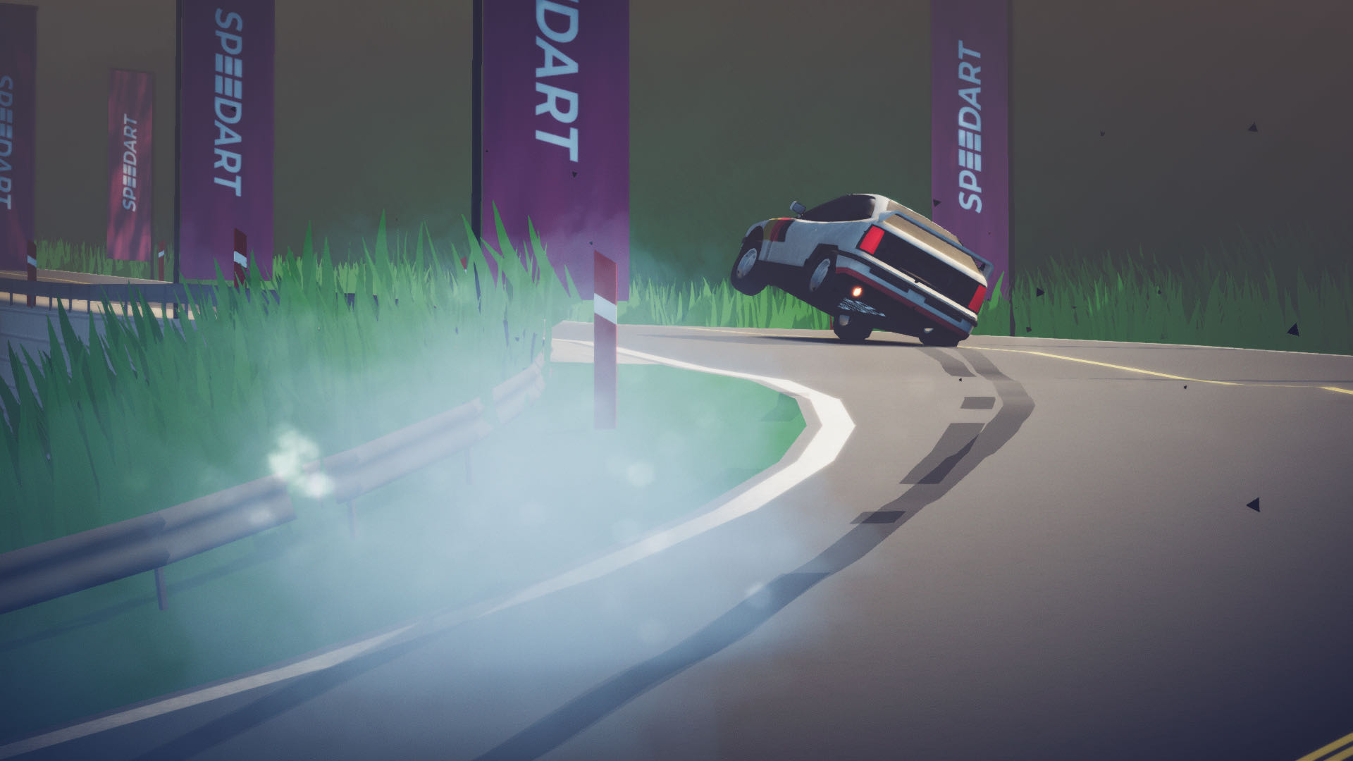 A screenshot from Art of Rally, your car screeching around a turn on two wheels.