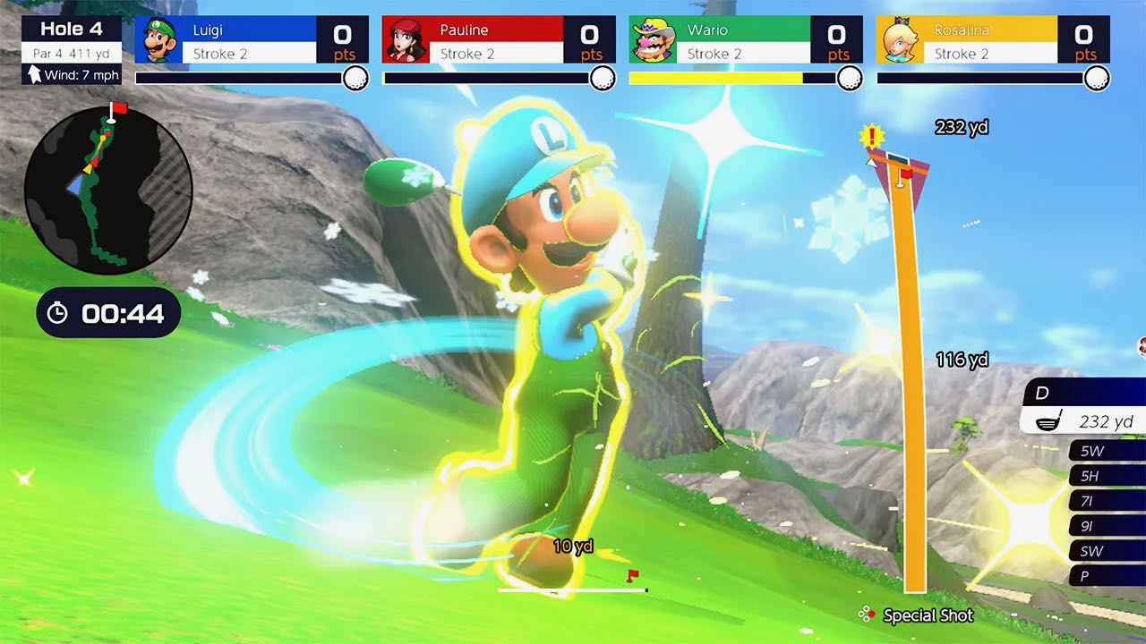 A screenshot from Mario Golf, showing Luigi moments after activating his special shot during a 4-player game of speed golf.