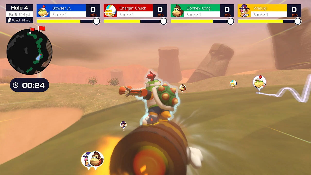 A screenshot from Super Rush, Bowser Jr surfing a Bullet Bill during a game of speed golf.