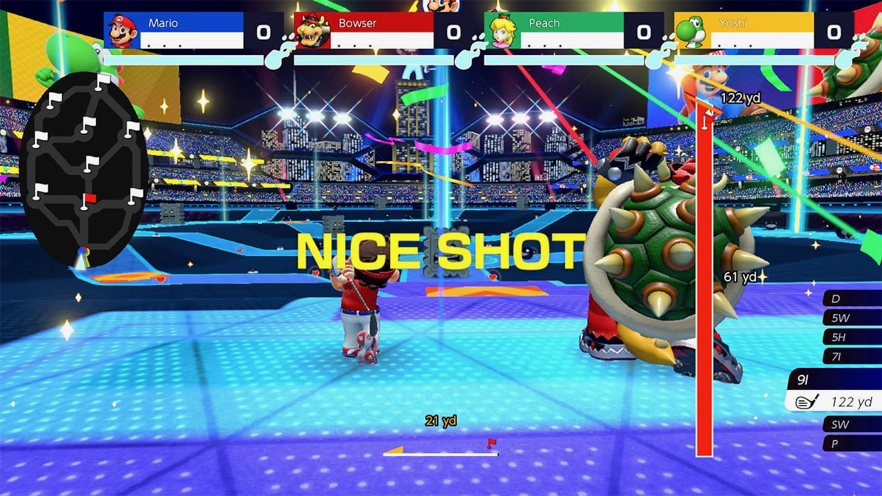 A screenshot of Battle Golf, Mario has just teed off alongside Bowser and they're about to rush into the arena.