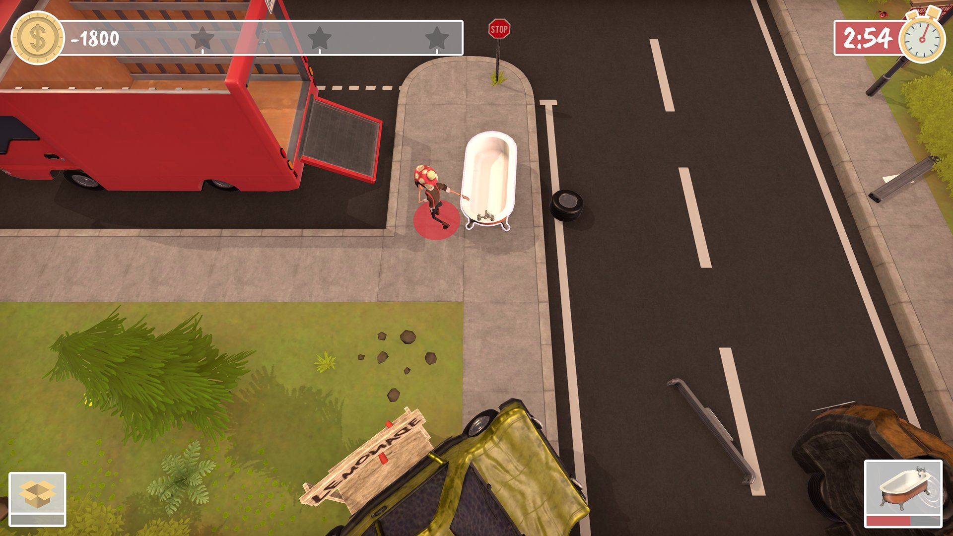 A screenshot from Get Packed, you're dragging a bath tub across a suburban street, towards the removal van.
