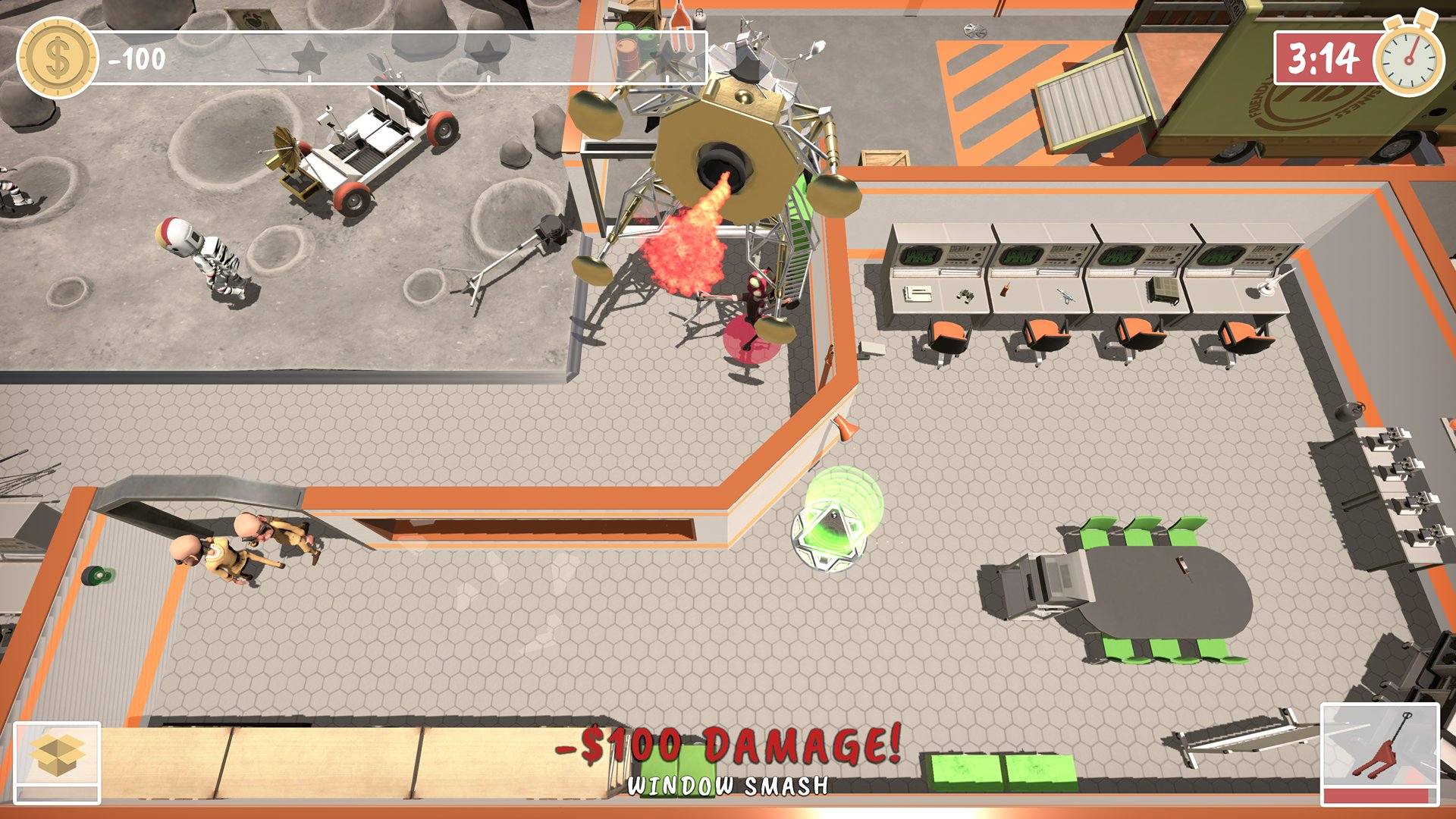 A screenshot from Get Packed, your team has just accidentally smashed a window at what seems to be a lunar base.