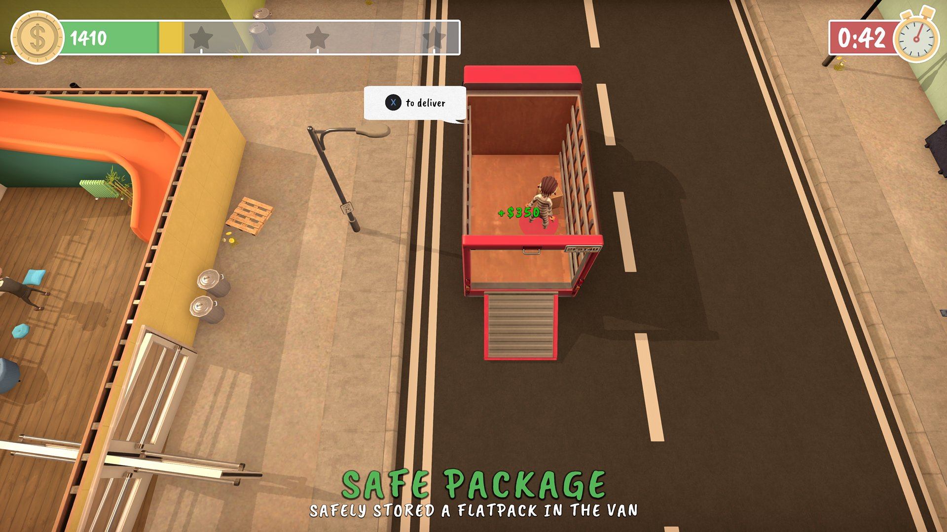 A screenshot from Get Packed, a message is congratulating you for safely flat-packing an item in the removal van.