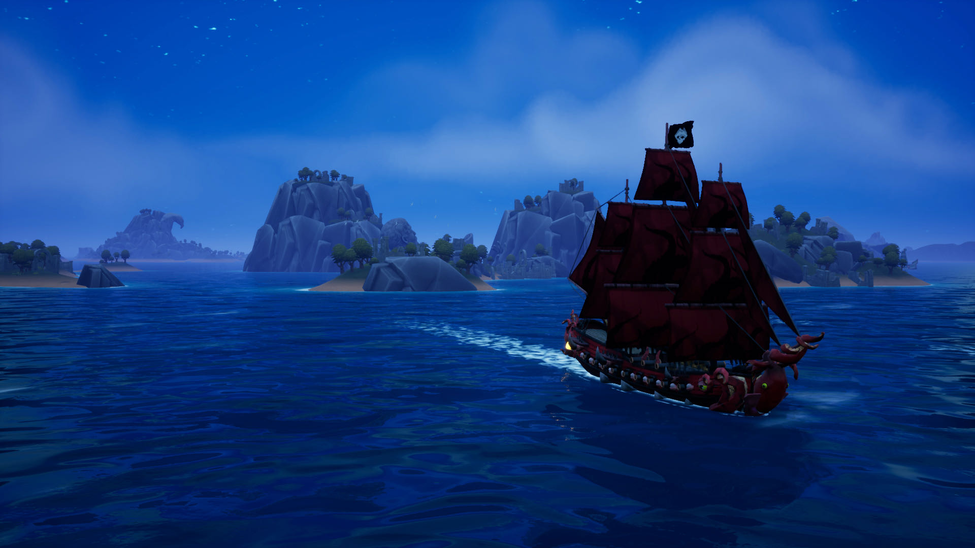 A nighttime screenshot from King of Seas, your silhouetted ship sailing away from a group of islands, towards the camera.