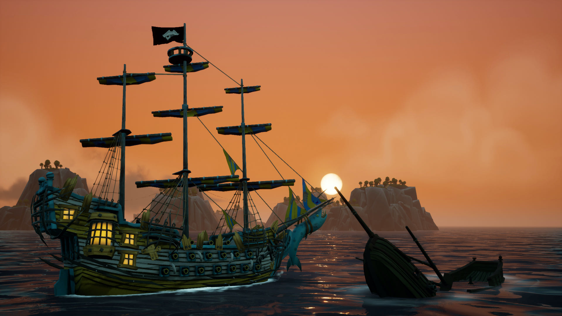 A screenshot from King of Seas, your ship passing a smaller wreck with the sun setting in the distance.