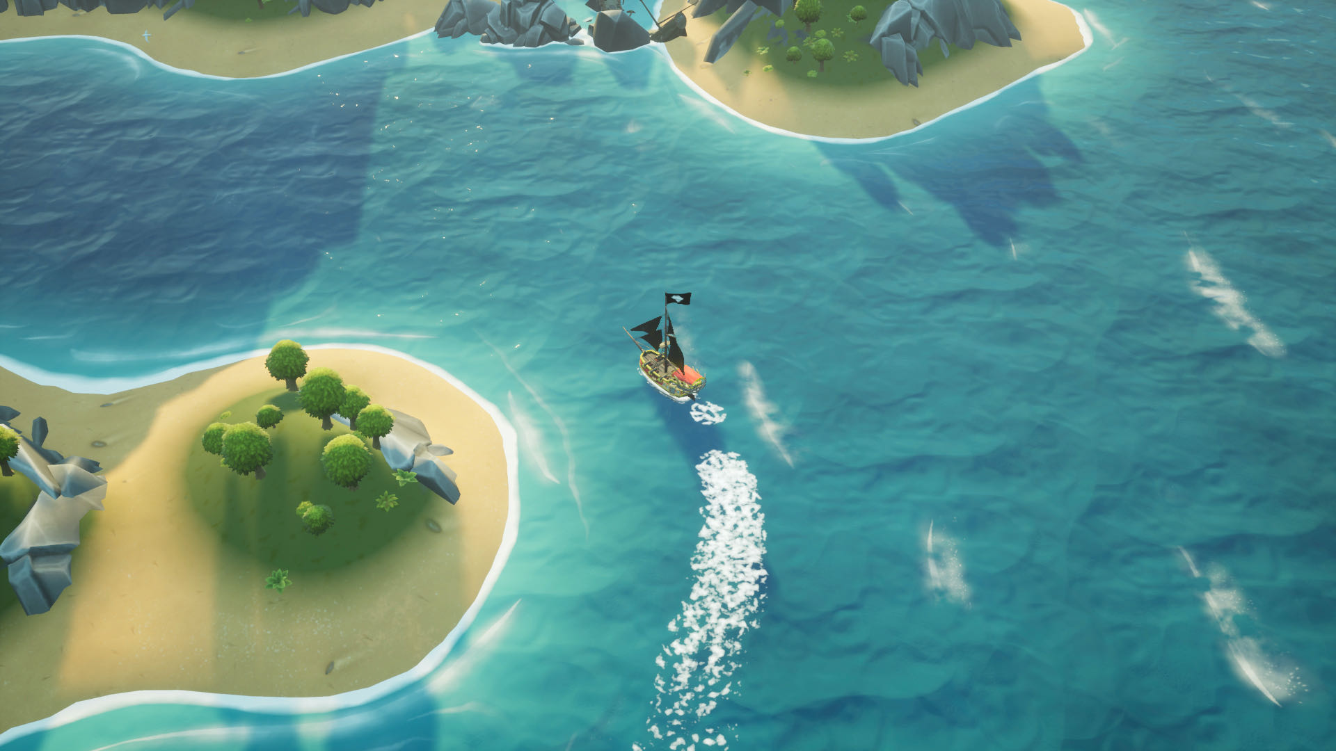 A top-down screenshot from King of Seas, your ship circling a small island.