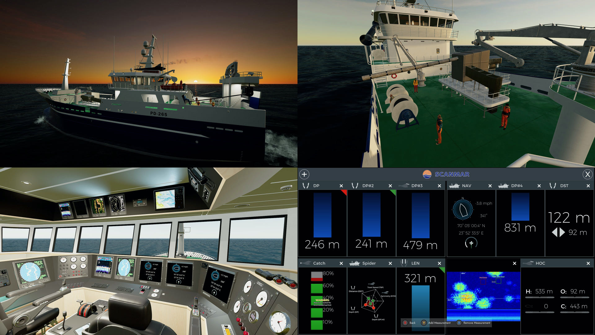A composite of screenshot from Fishing: North Atlantic, showing various gameplay views and interface elements.