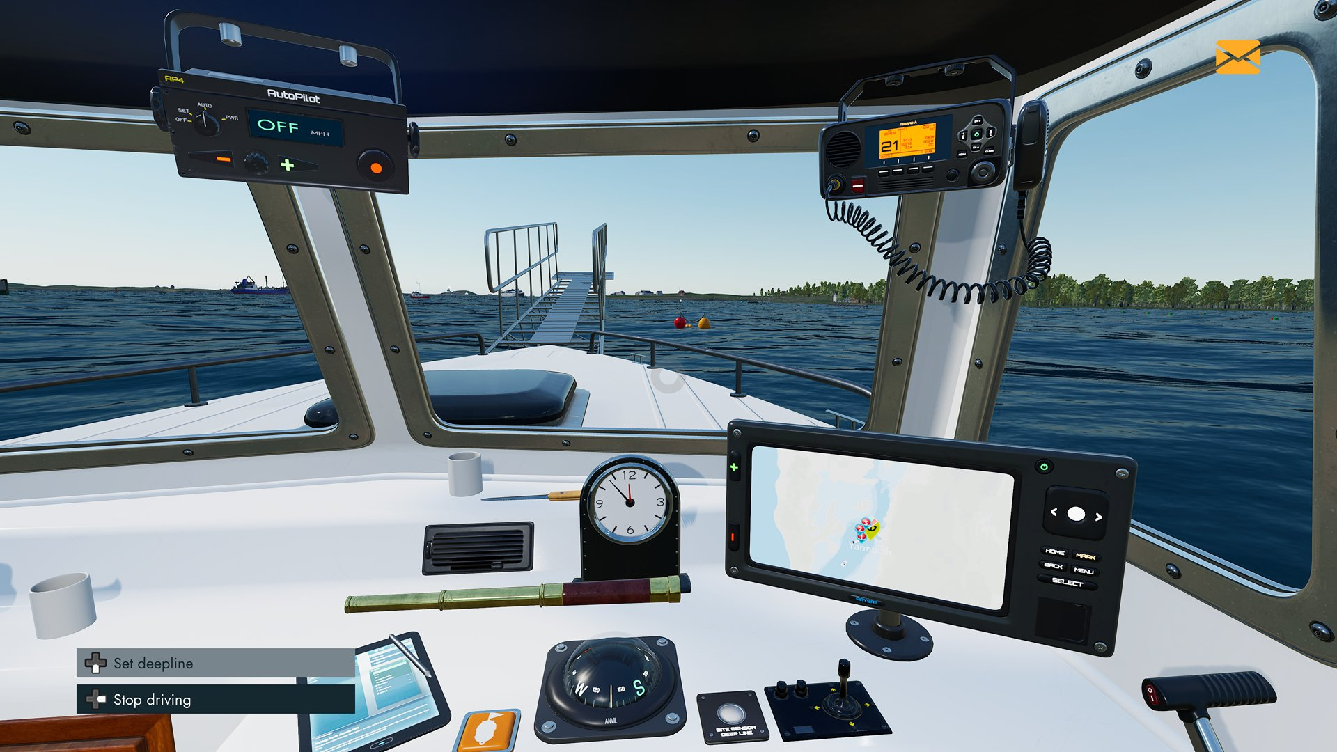 An interior screenshot from Fishing: North Atlantic, showing your vessel's dashboard and instruments panel.