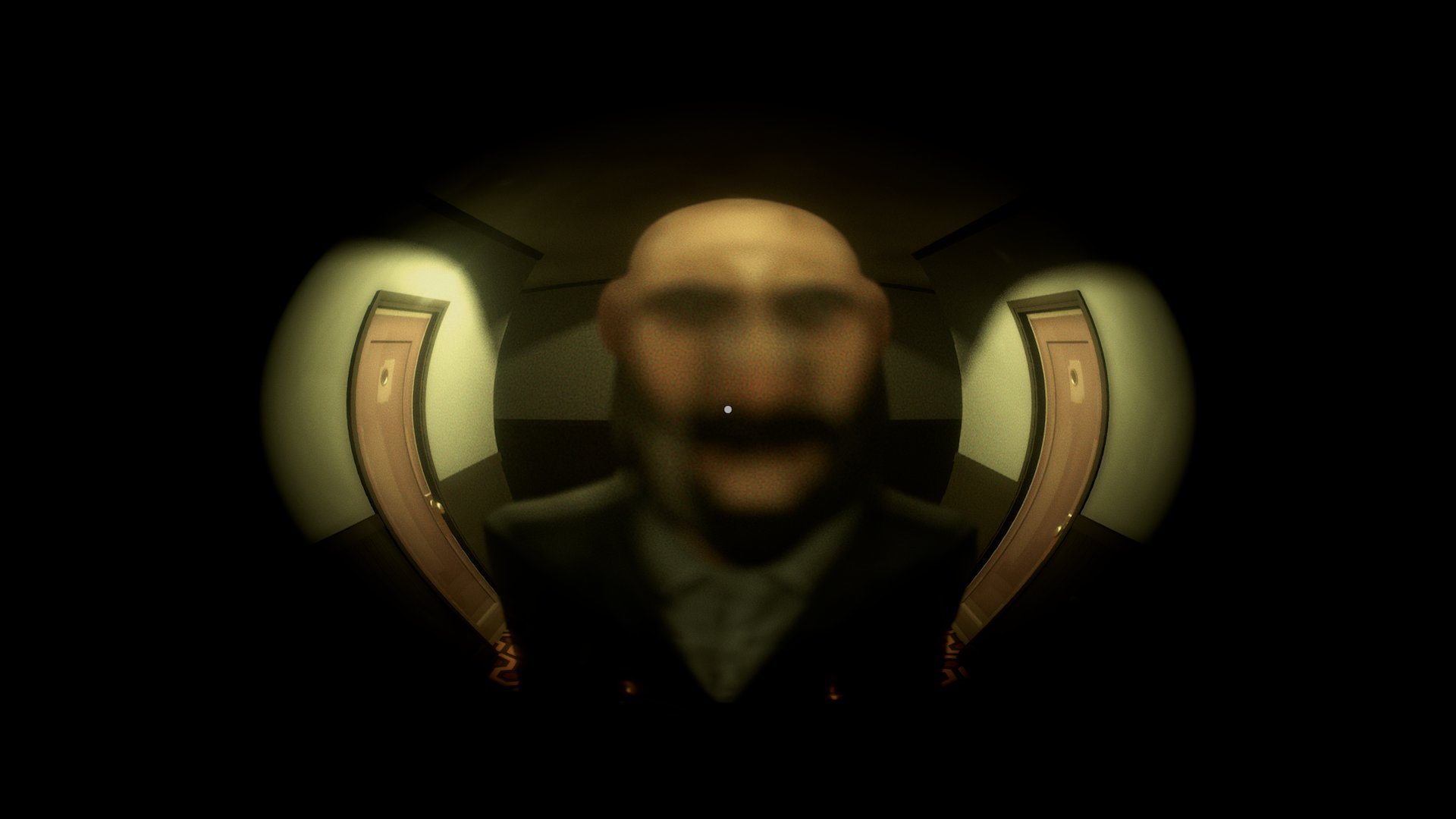 A screenshot from 12 Minutes, you're looking through the spy-hole of your apartment door at a man's blurry face.