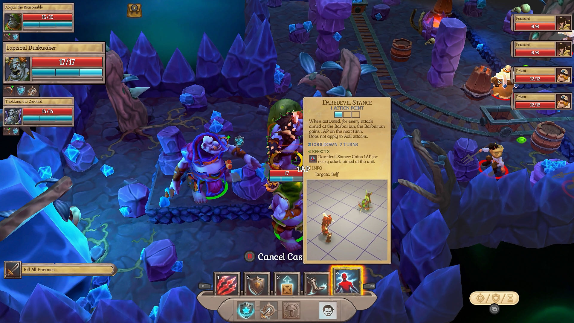An in-game screenshot from Fort Triumph, you're commanding your troops against a huge, armoured ogre on a twilit battlefield.