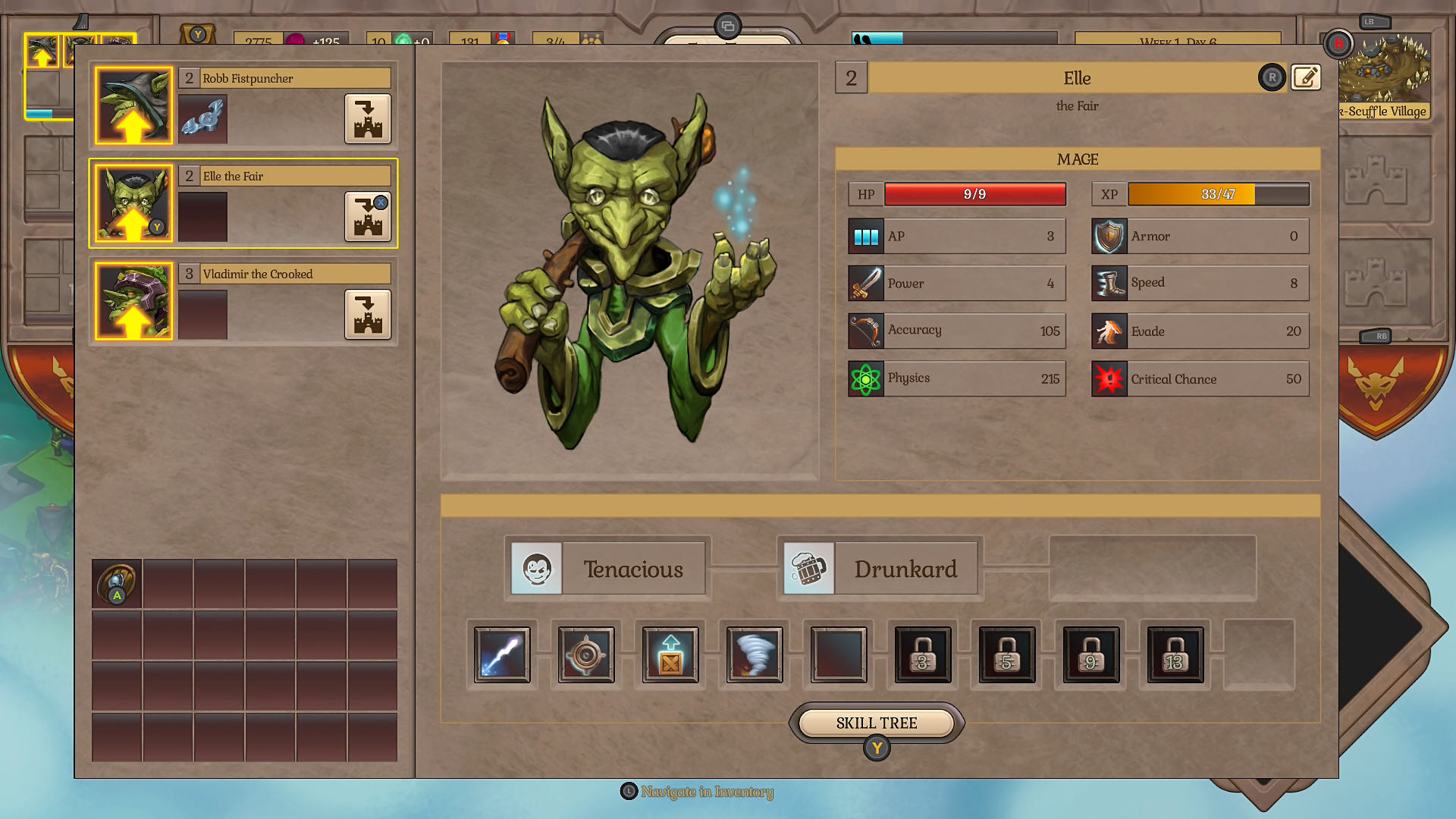 A menu screenshot from Fort Triumph, showing stats and upgrade options for a goblin magician-type character.