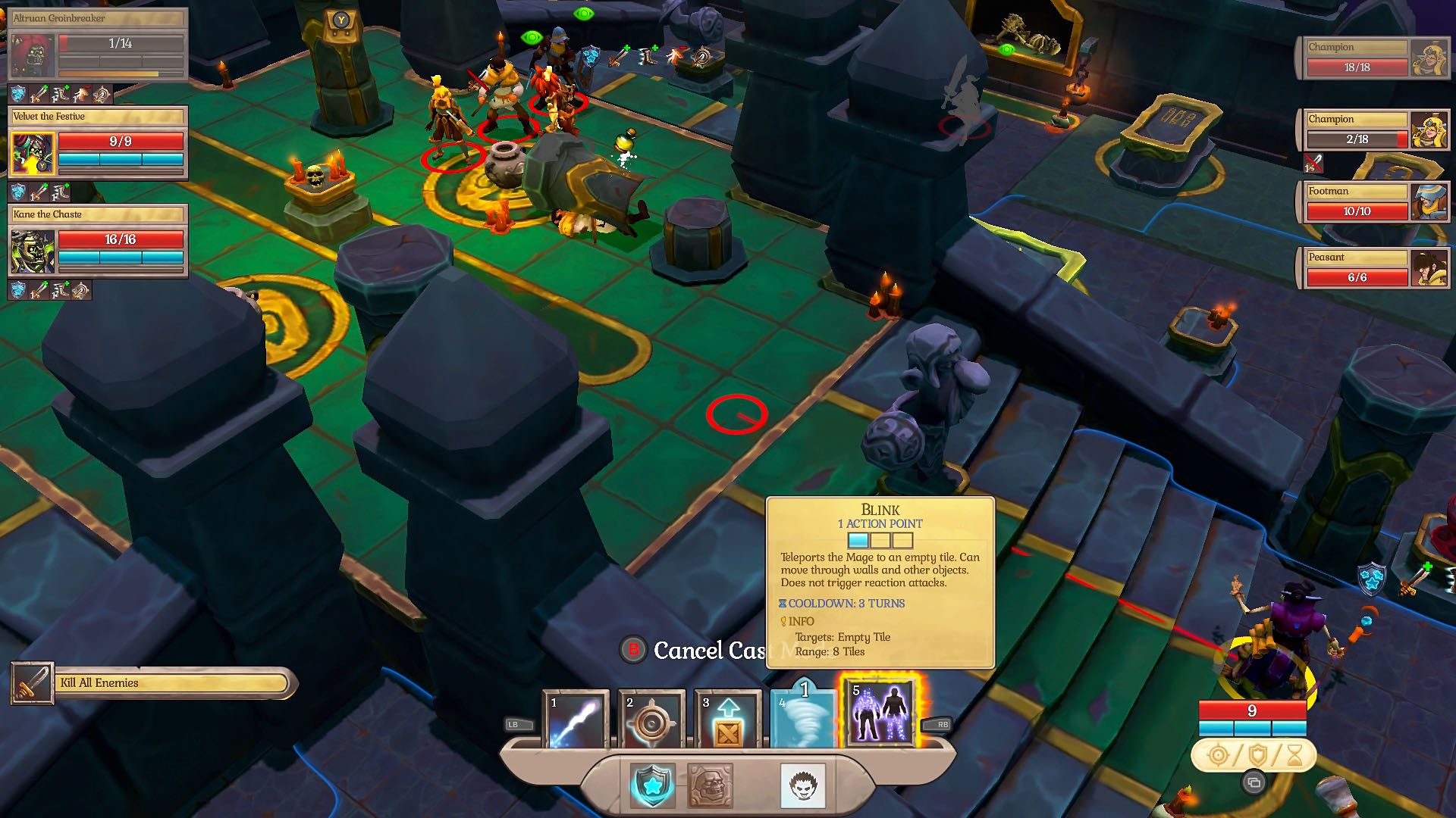 A colourful in-battle screenshot from Fort Triumph, showing action and command options for your characters.