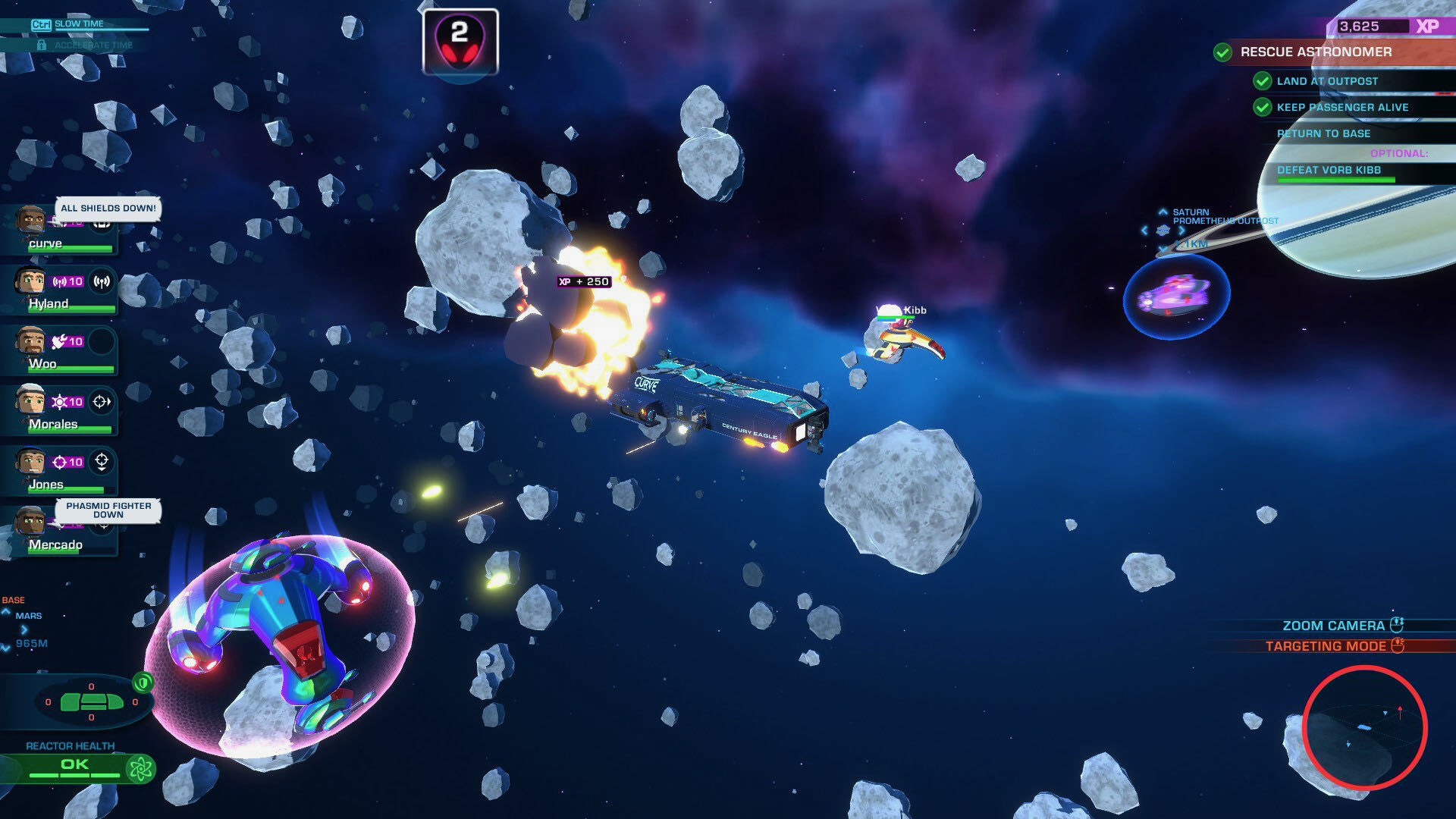 An exterior screenshot from Space Crew, showing your ship battling several others in an asteroid field.