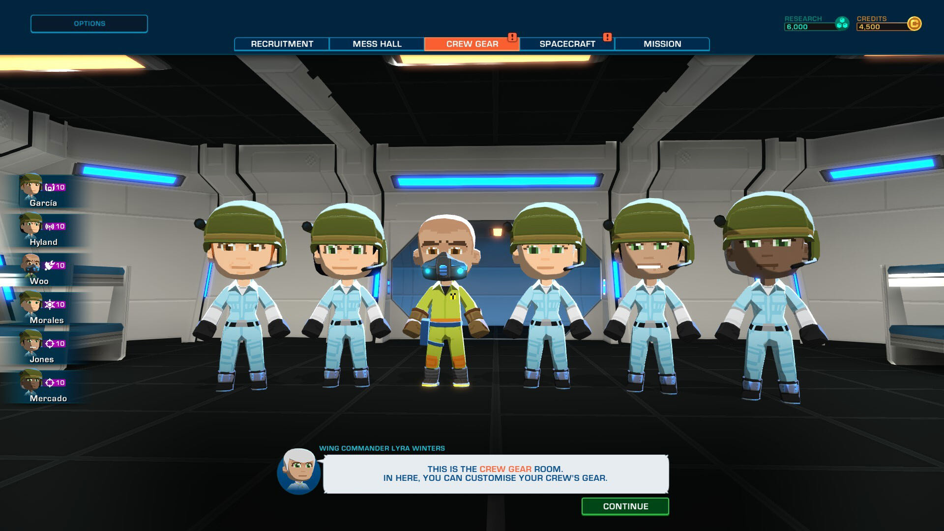 A screenshot from Space Crew, showing your 6-person crew lined up in the gear room.