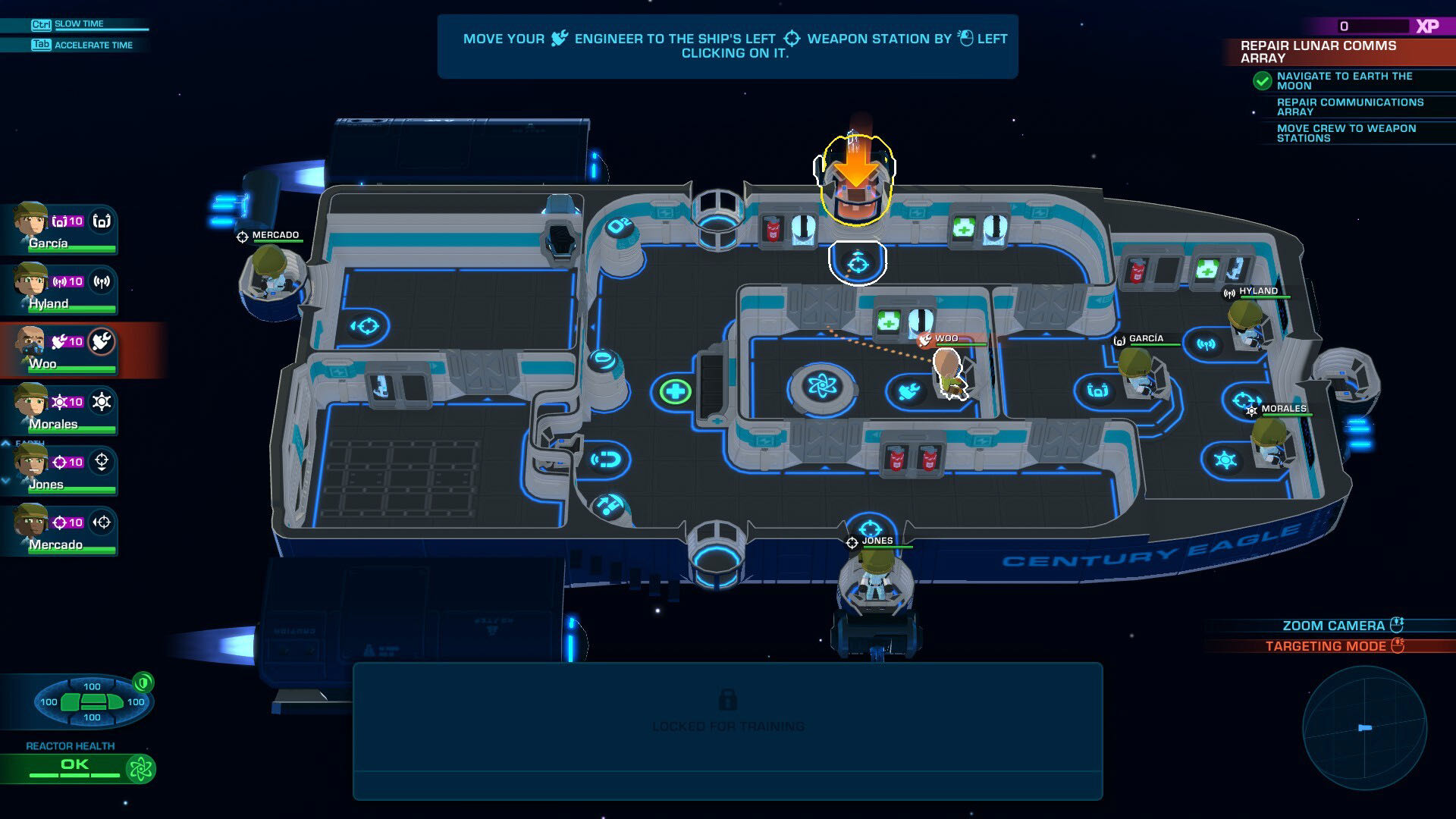 A map view from Space Crew, showing the layout of your ship with markers for your crew members.