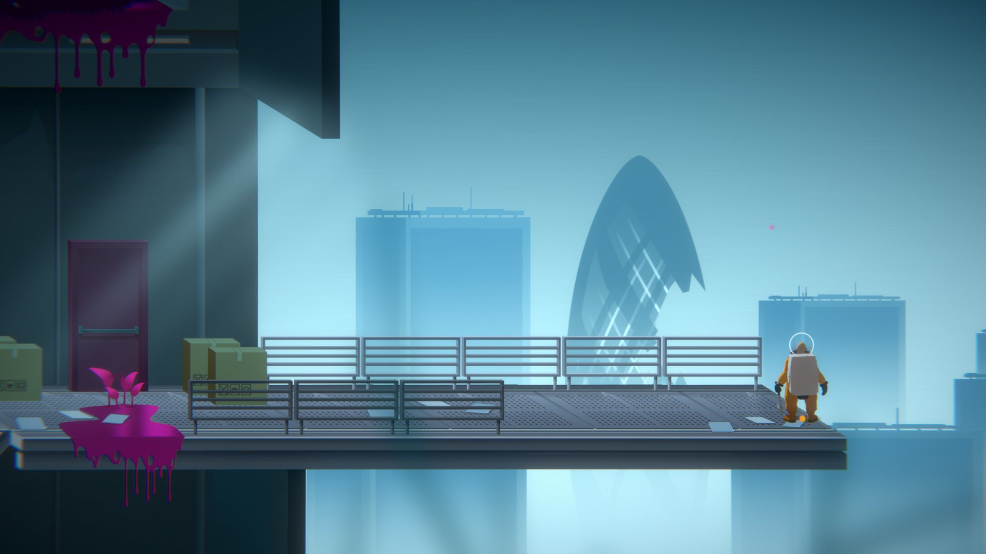 A screenshot from Golf Club: Wasteland, you're looking off into the distance towards some derelict skyscrapers.