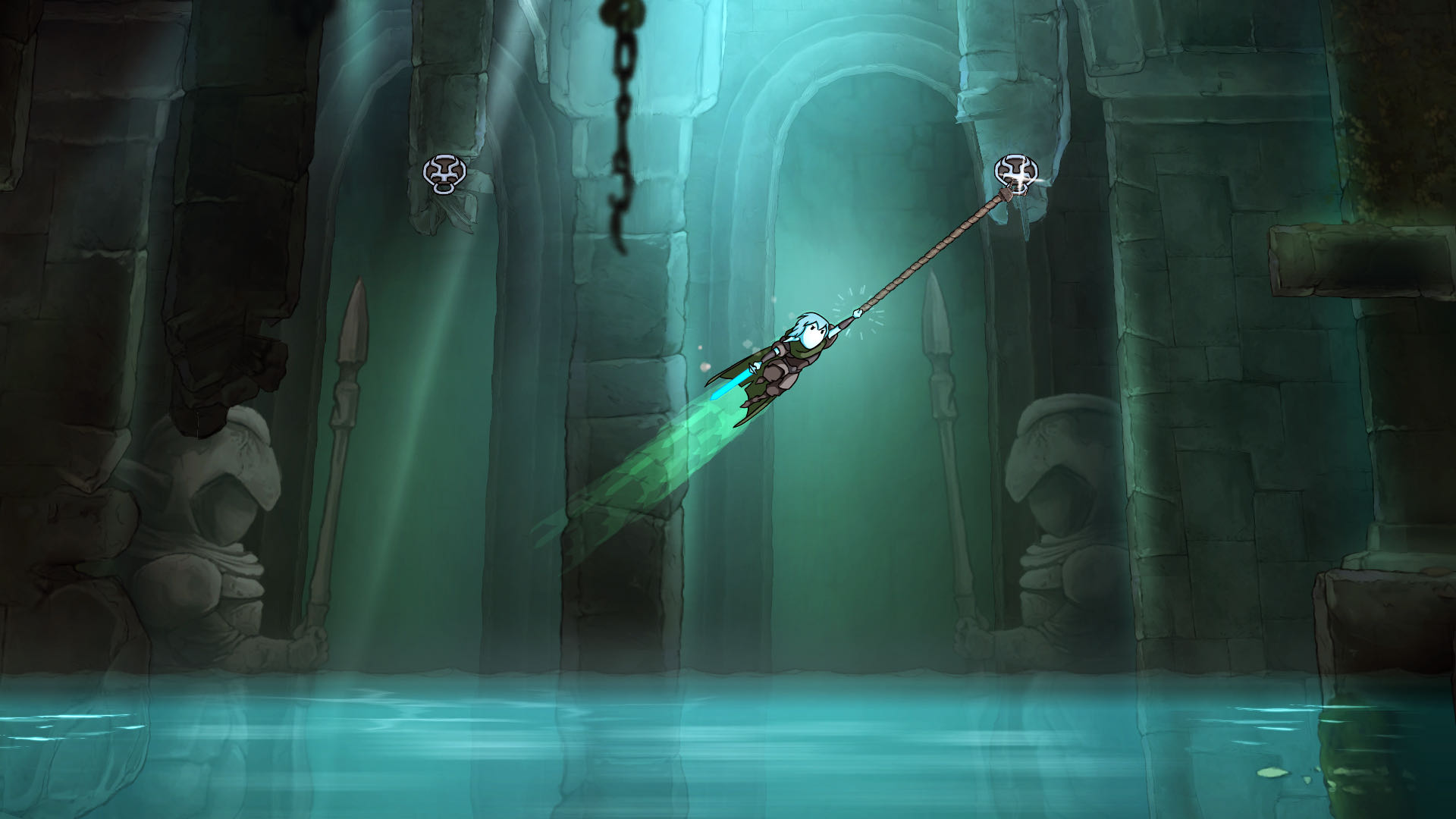 A screenshot from Greak, with Raydel using his grappling hook to cross a watery dungeon.