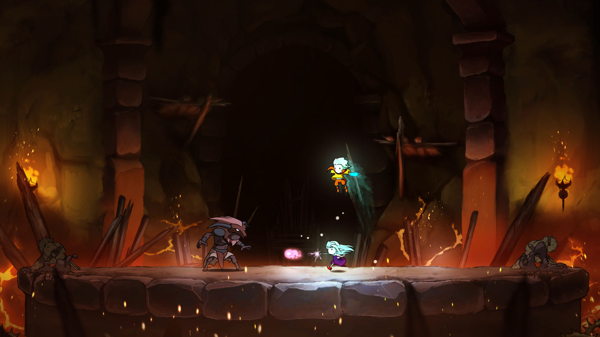 A screenshot from Greak, Greak and Adara are fighting a boss against a firey backdrop.