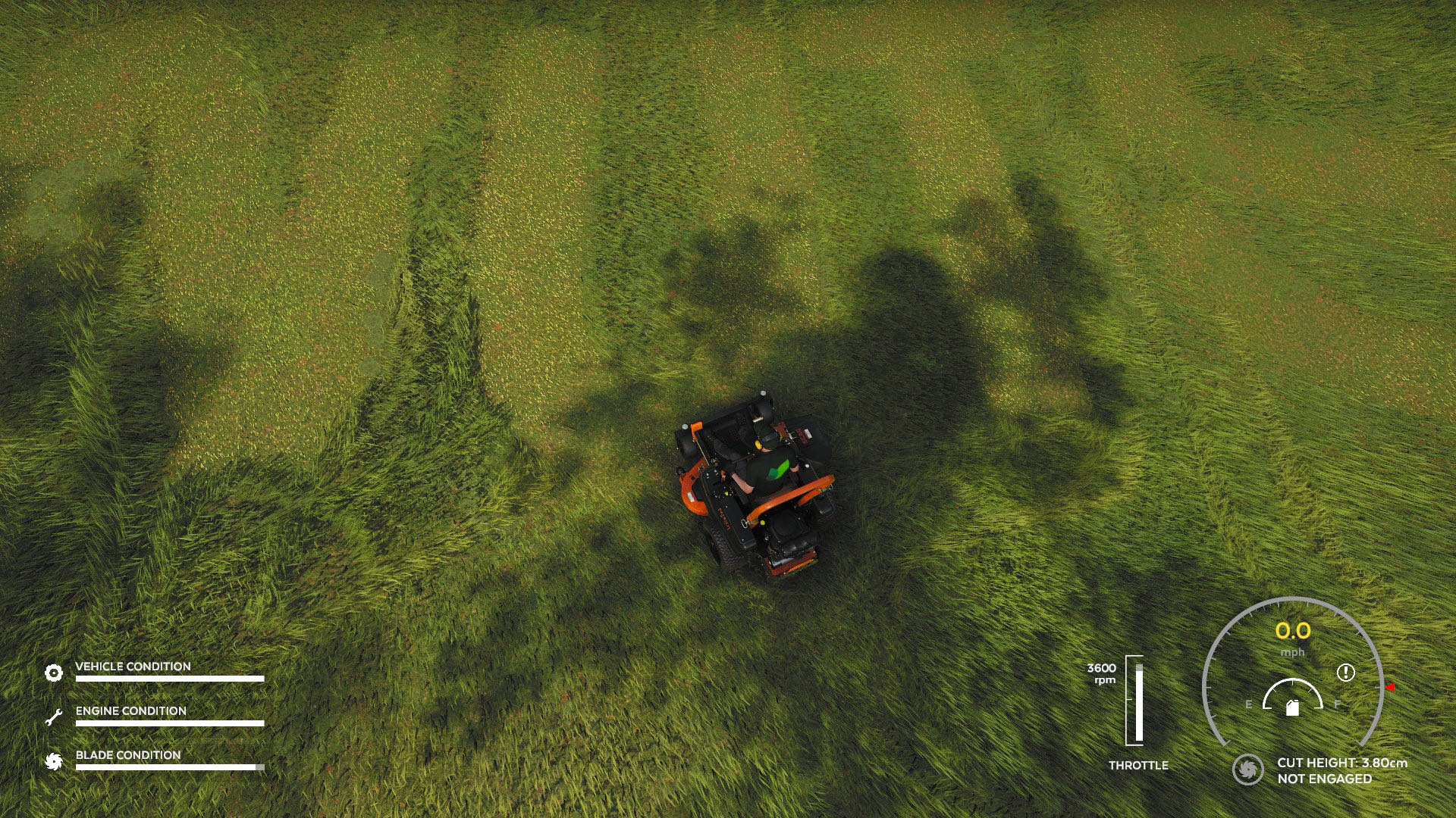 """A screenshot from Lawn Mowing Simulator, we've creatively mown the word """"Nuts"""" into a poor client's lawn."""