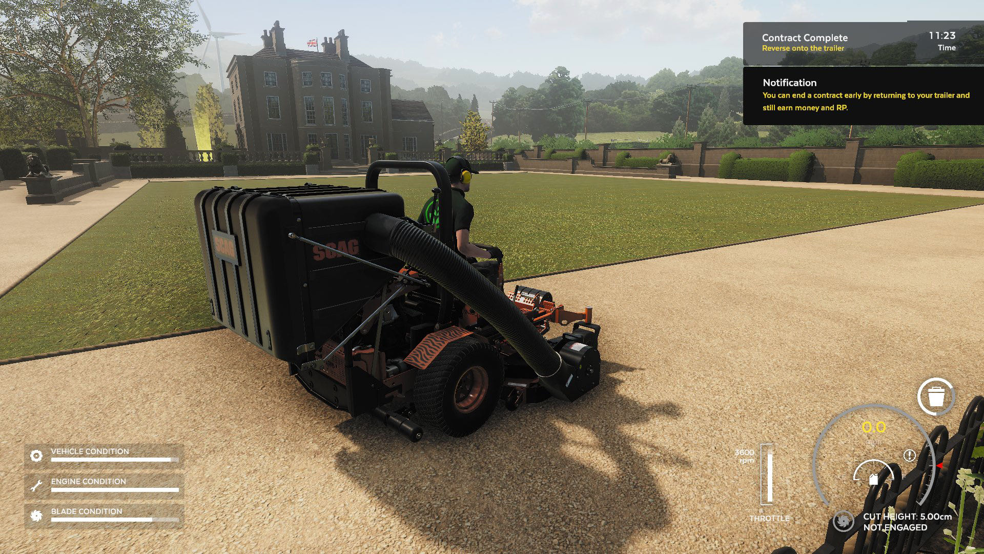 A close-up shot of your mower from Lawn Mowing Simulator, showing the condition, contract status and HUD.