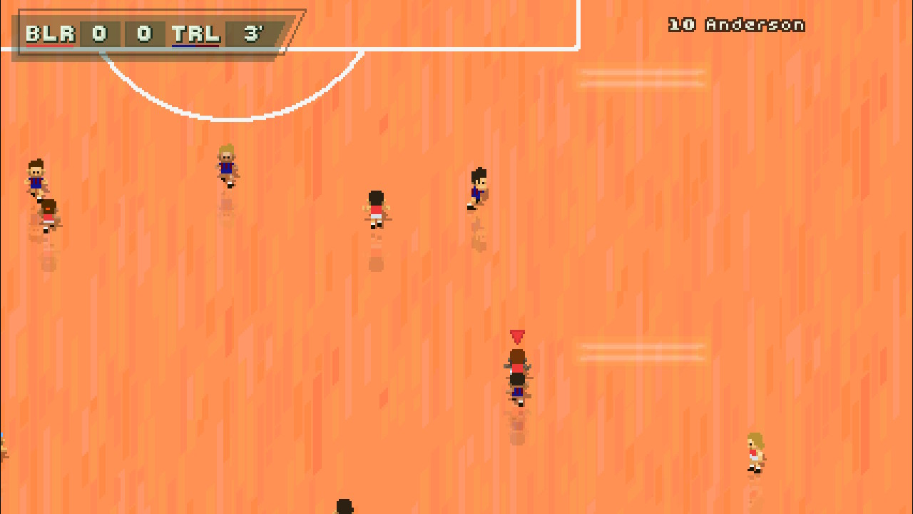 A screenshot from Super Arcade Football, a game being played on an orange, basketball court-style pitch.