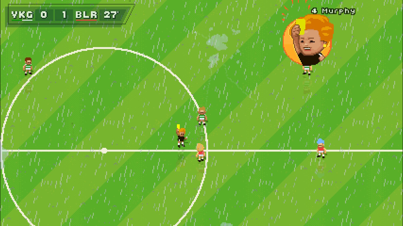 A screenshot from Super Arcade Football, one of your players being given a yellow card by the referee.