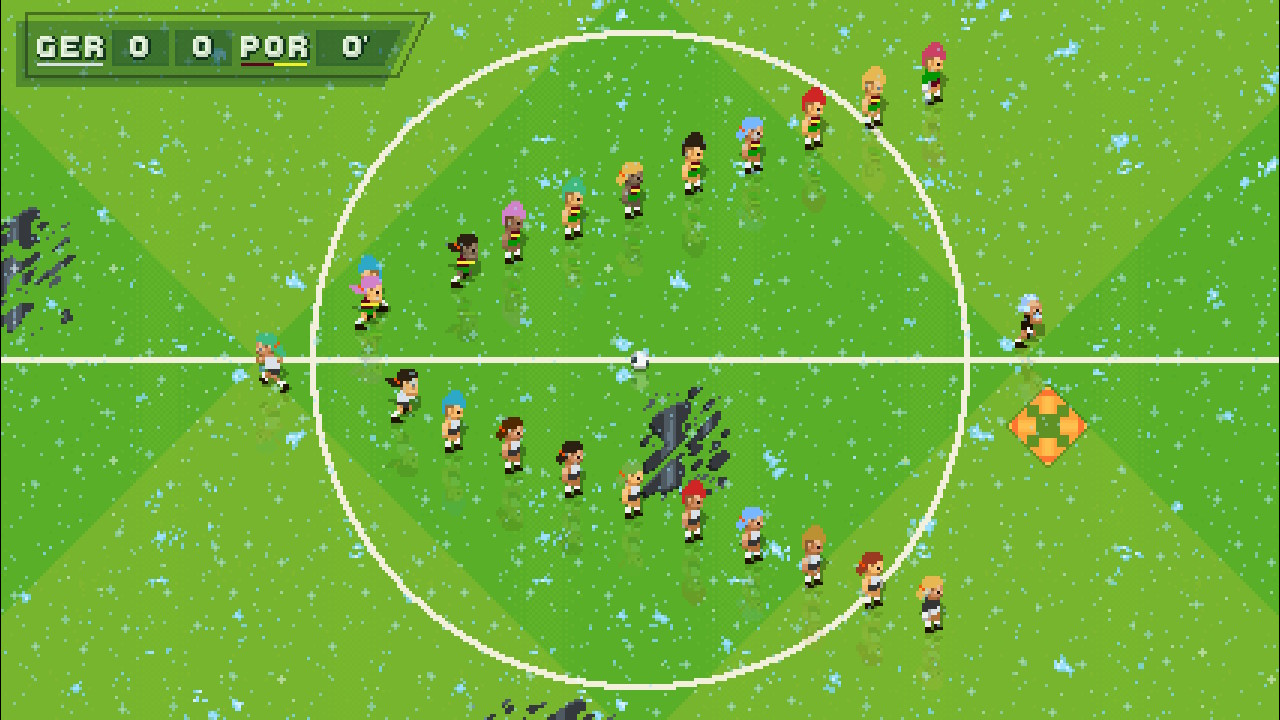 A screenshot from Super Arcade Football with all modifiers turned on, the pitch covered in snow, puddles, oil and turbo patches.